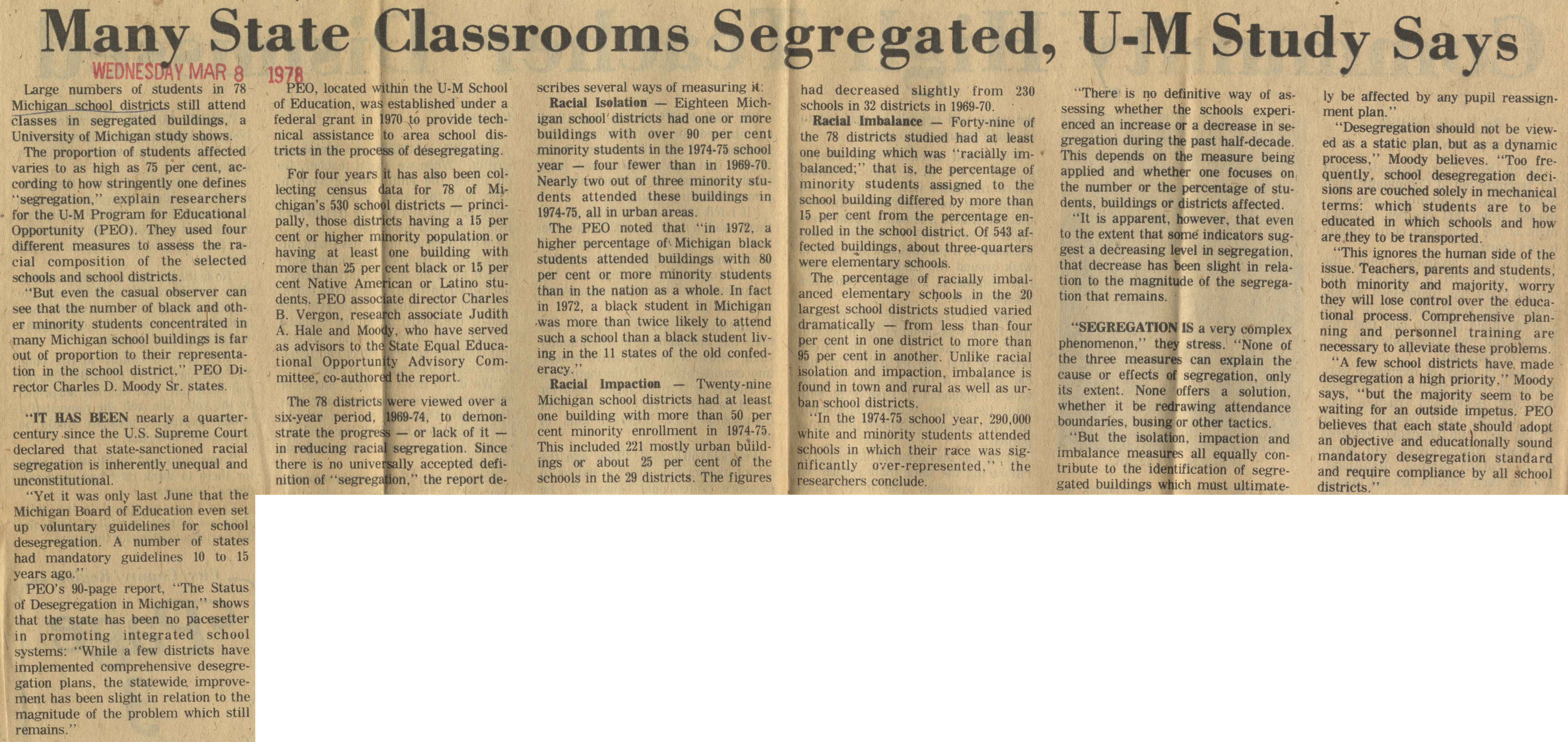 Many State Classrooms Segregated, U-M Study Says image