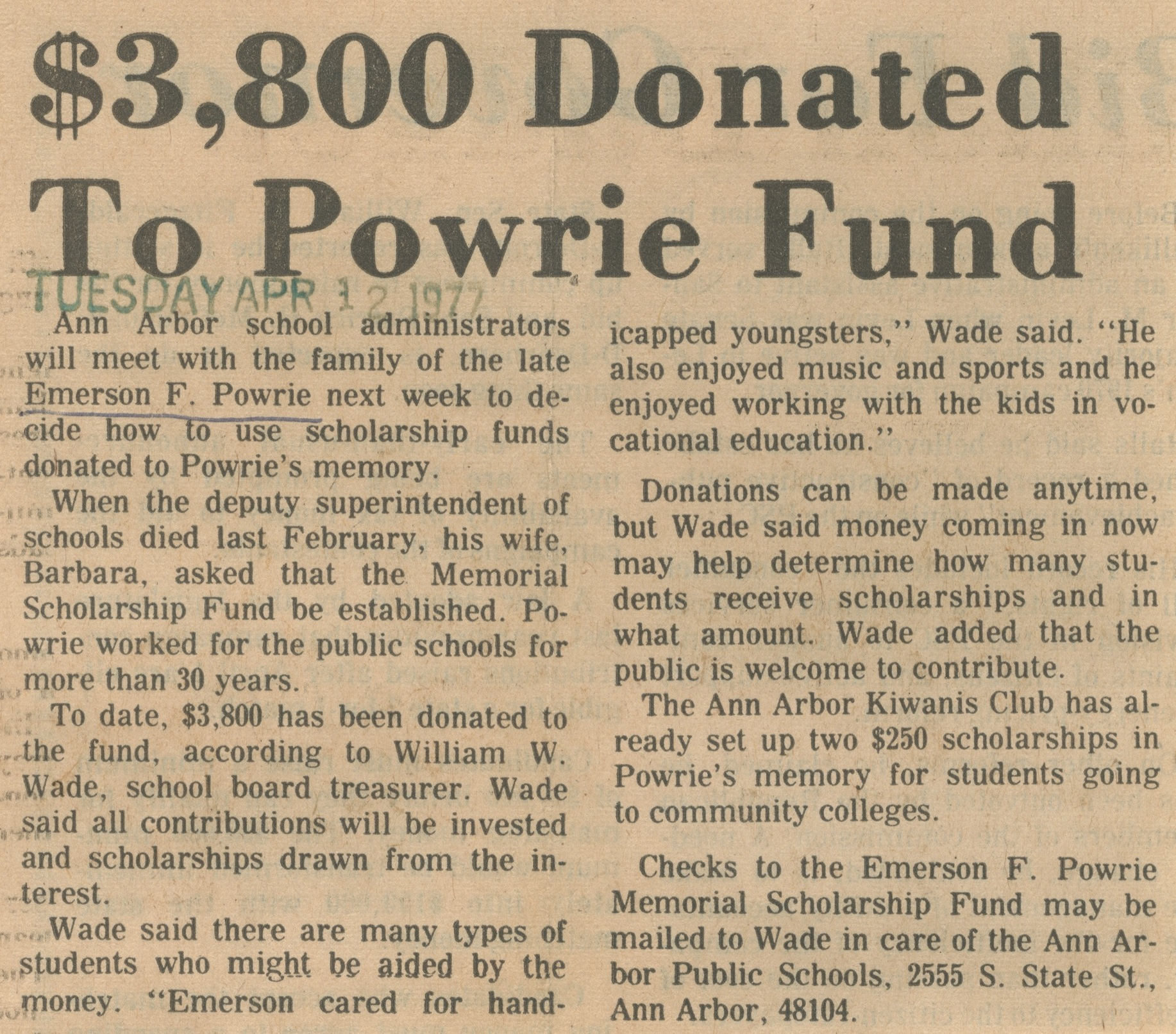 $3,800 Donated To Powrie Fund image