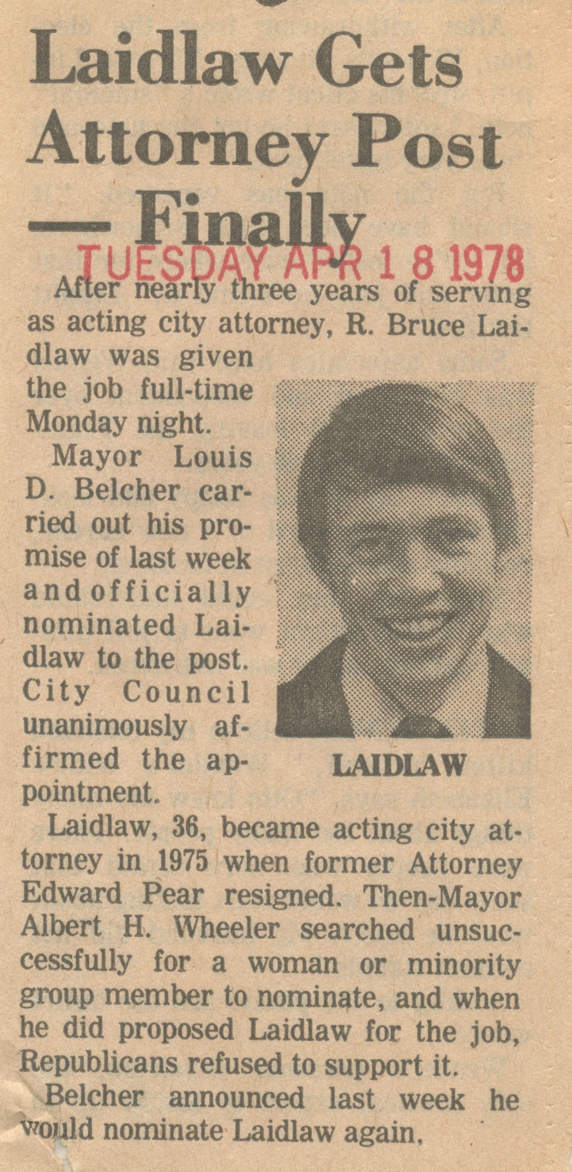 Laidlaw Gets Attorney Post - Finally image