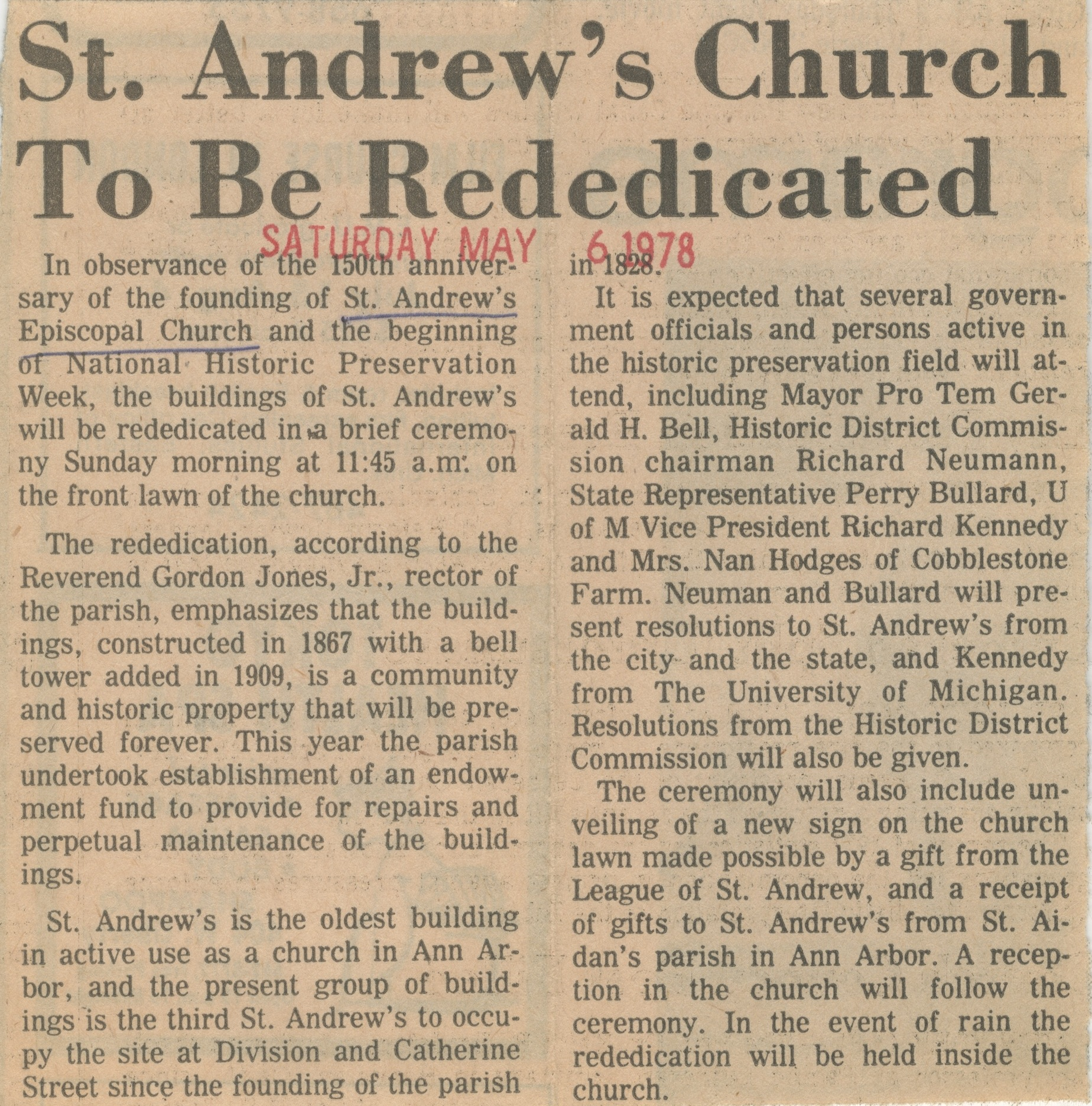 St. Andrew's Church To Be Rededicated image