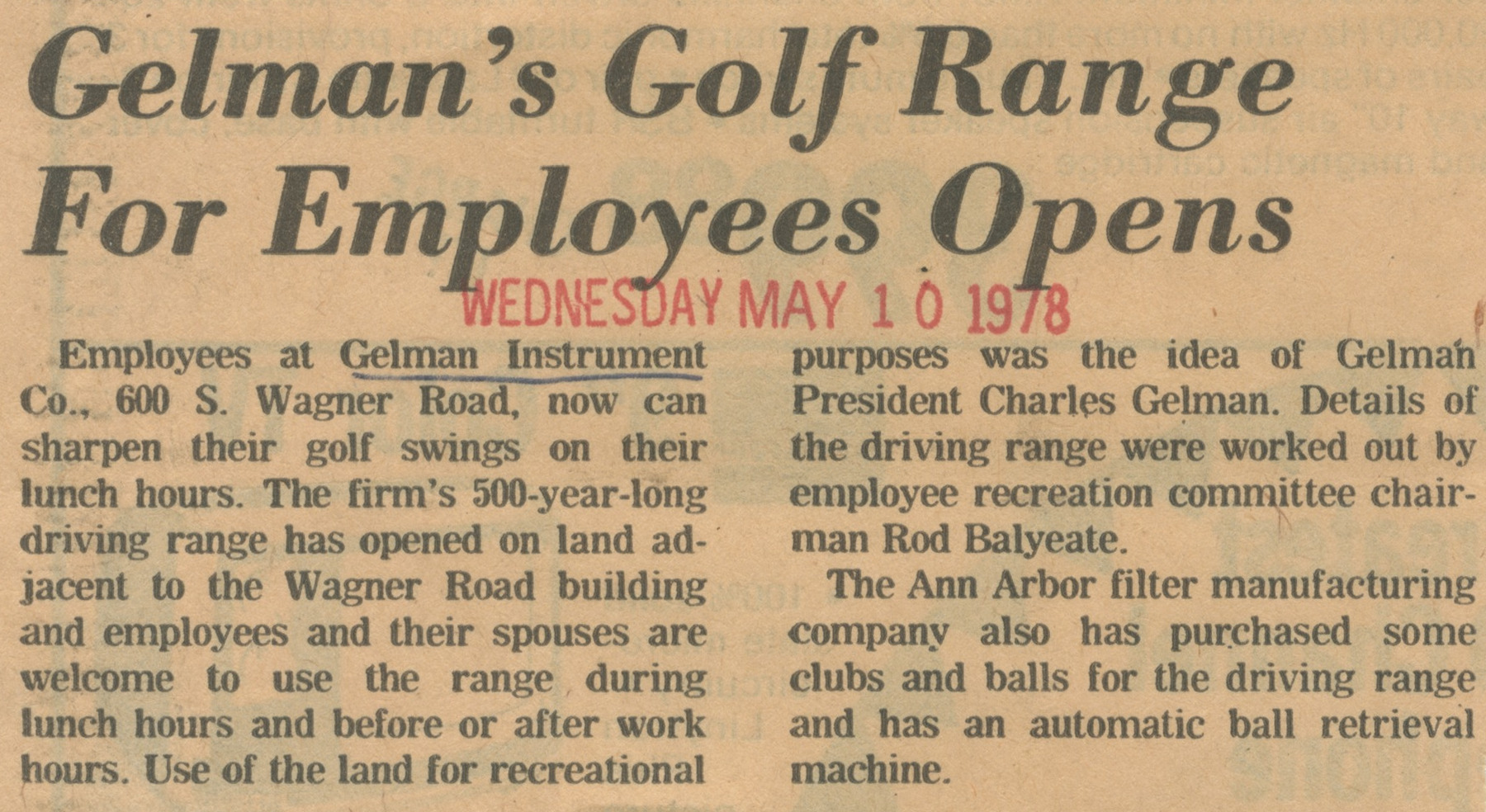 Gelman's Golf Course For Employees Opens image