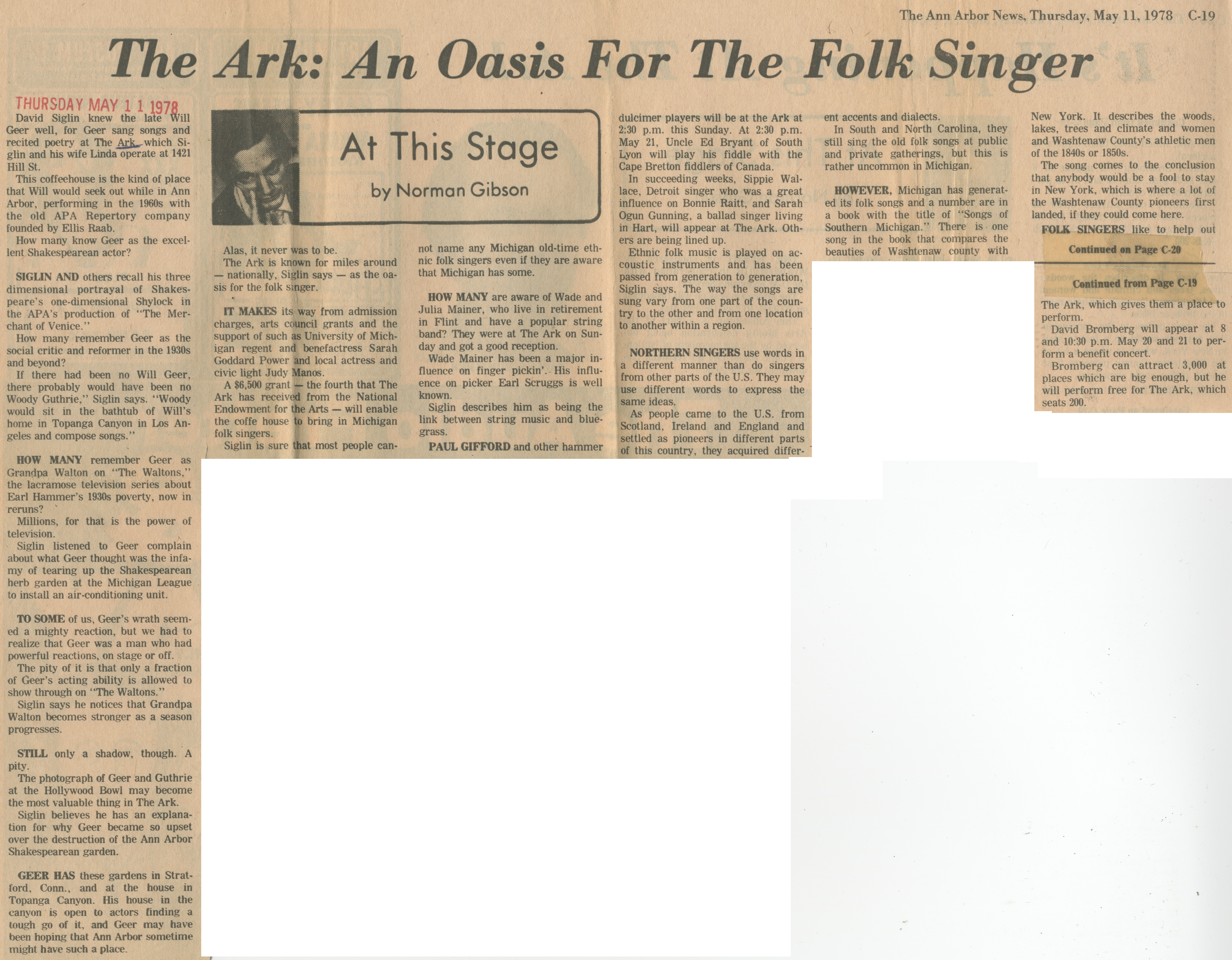 The Ark: An Oasis For The Folk Singer image