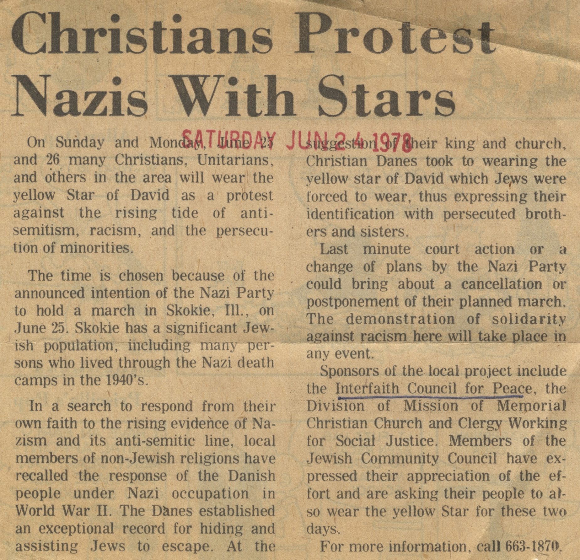 Christians Protest Nazis With Stars image