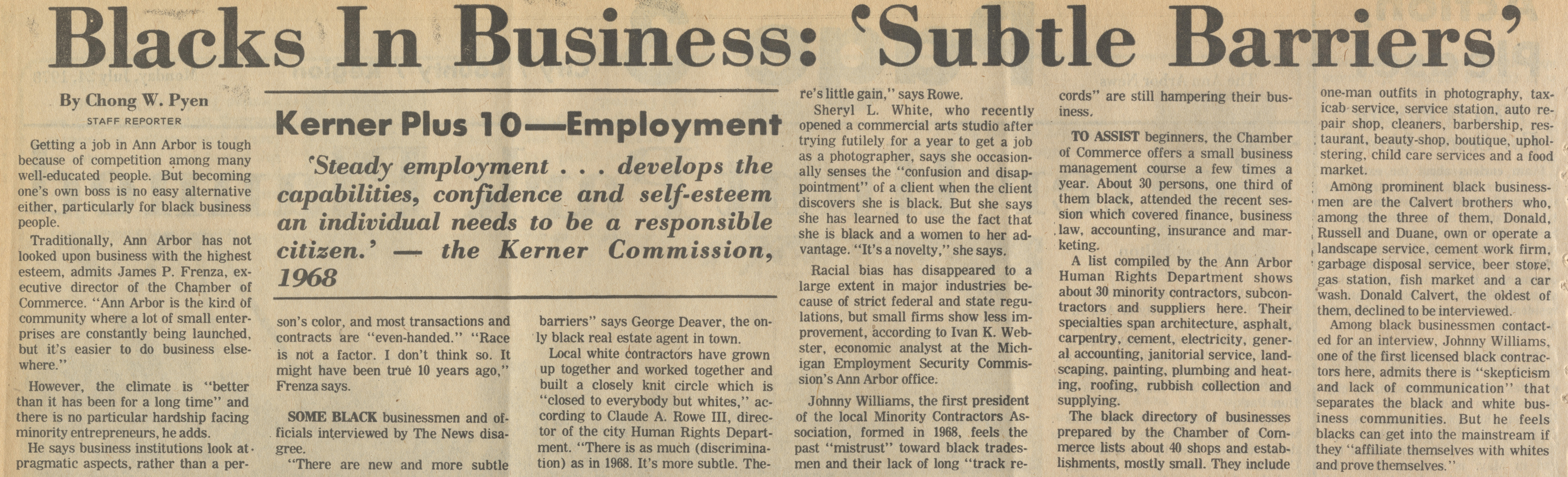 "Blacks in Business: ""Subtle Barriers"" Kerner Plus 10 - Employment image"