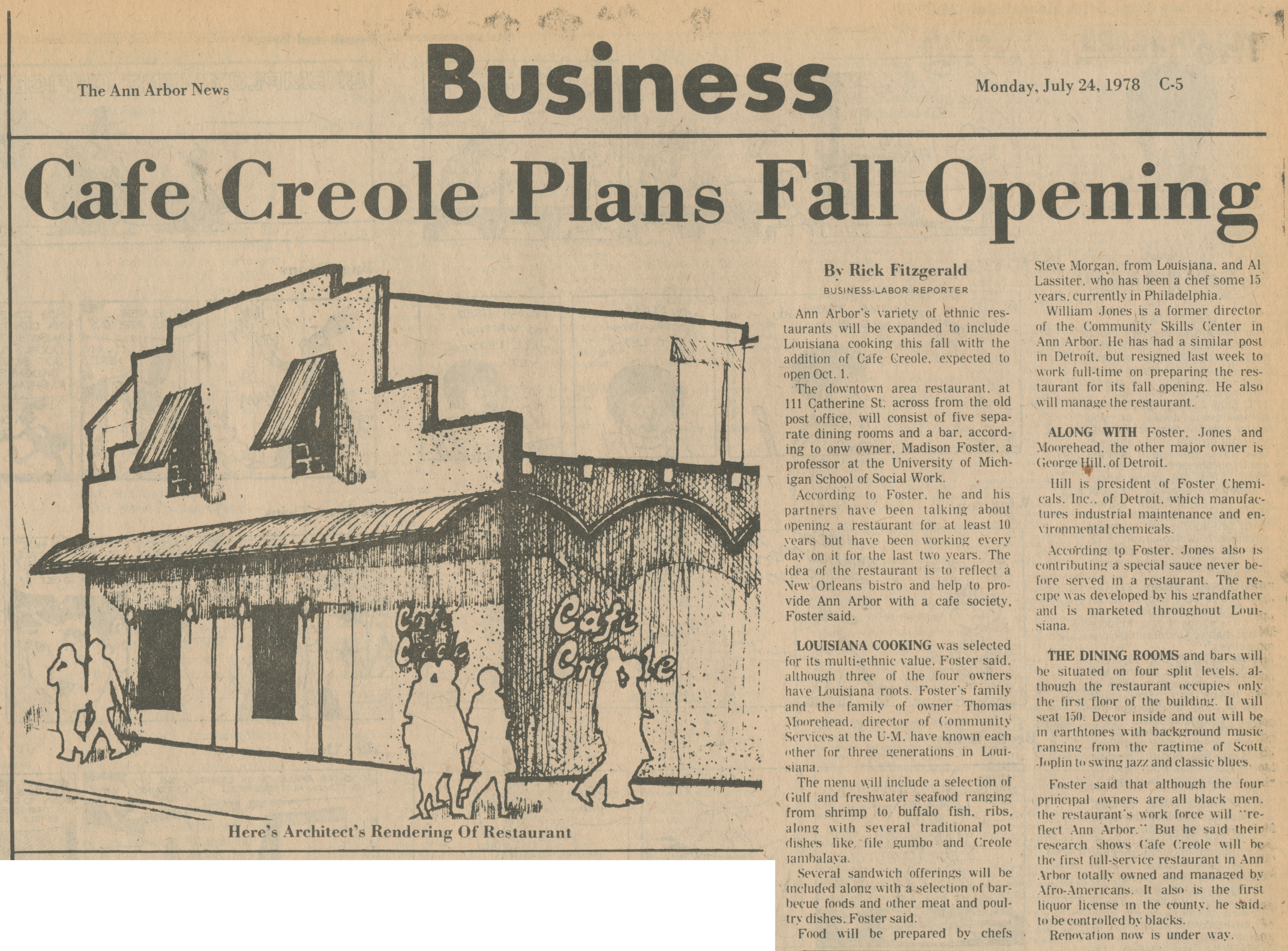 Cafe Creole Plans Fall Opening image
