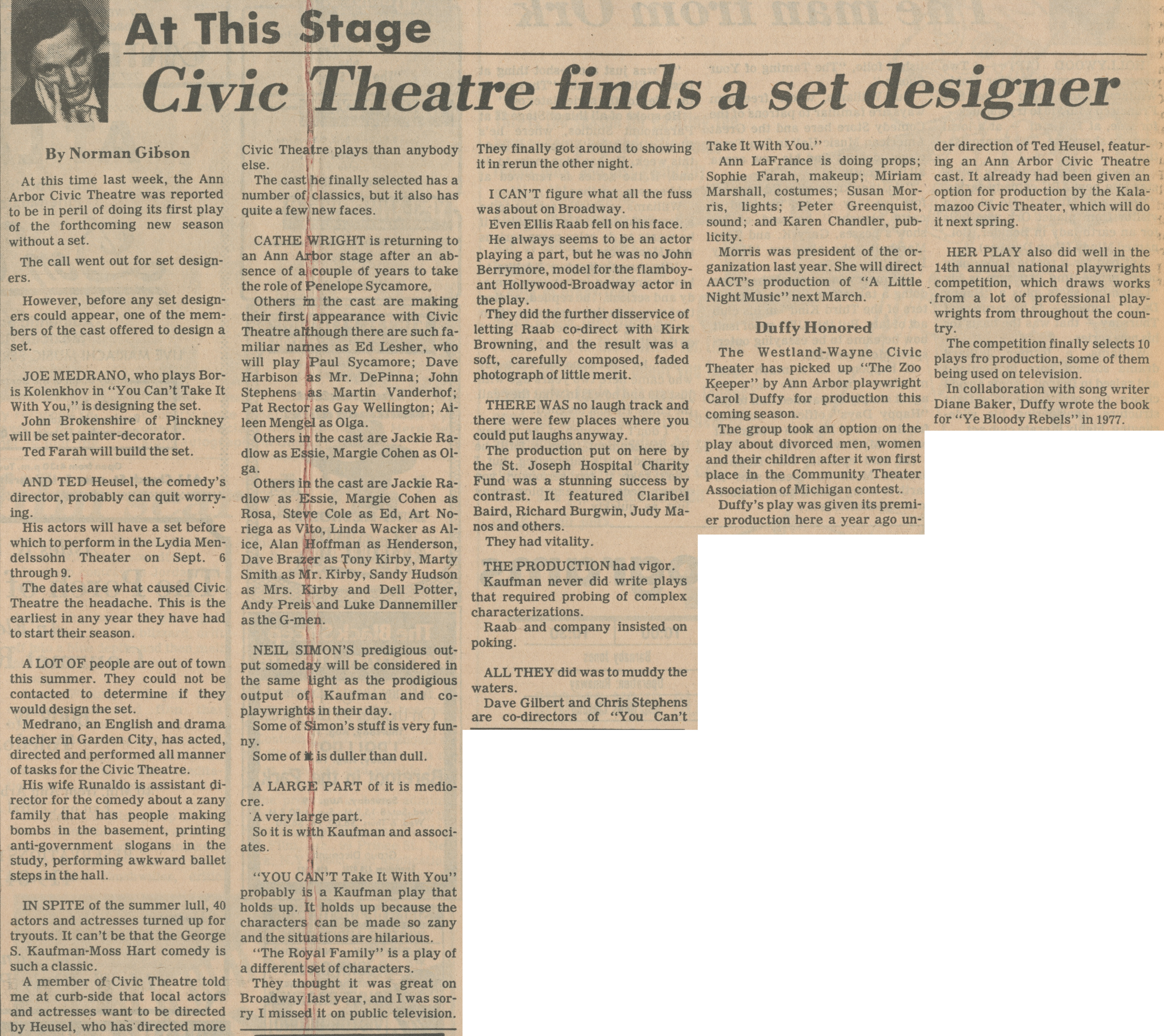 Civic Theatre Finds A Set Designer image