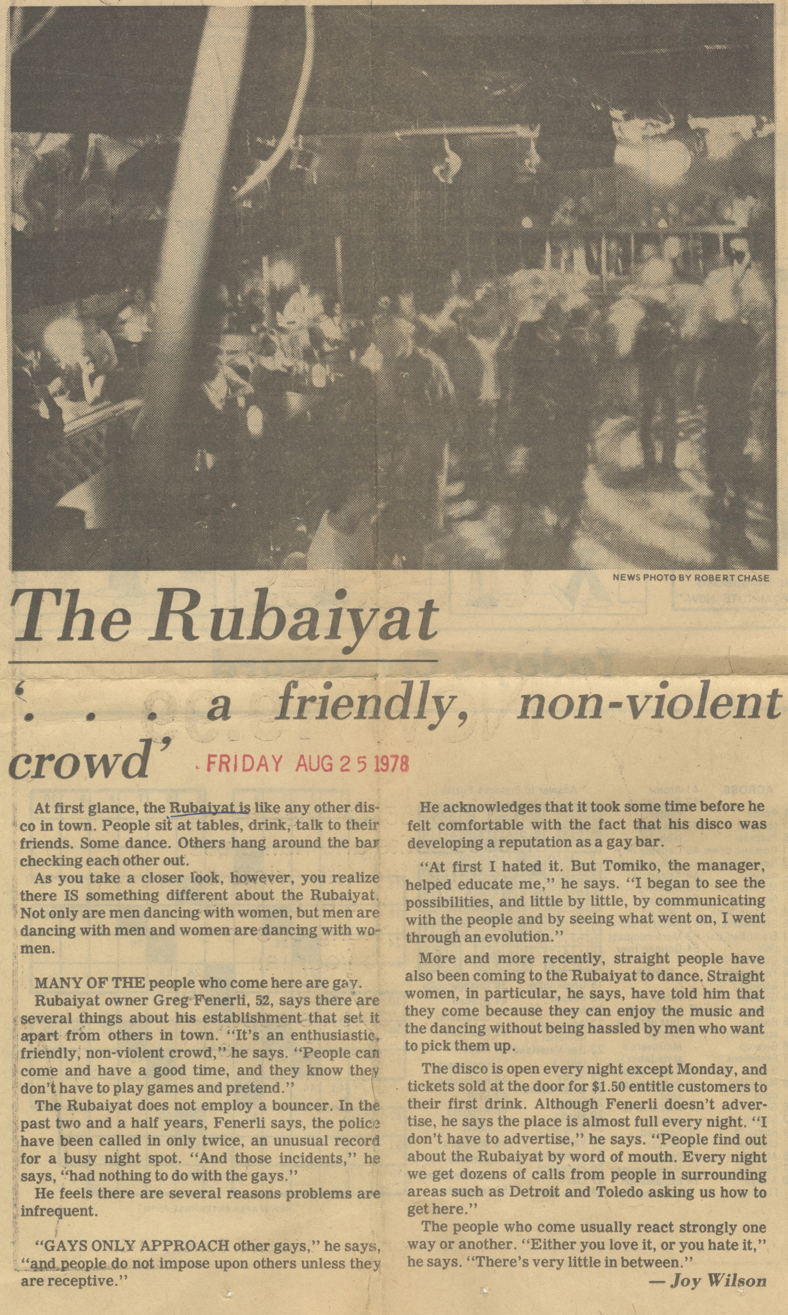 The Rubaiyat '...A Friendly, Non-Violent Crowd' image