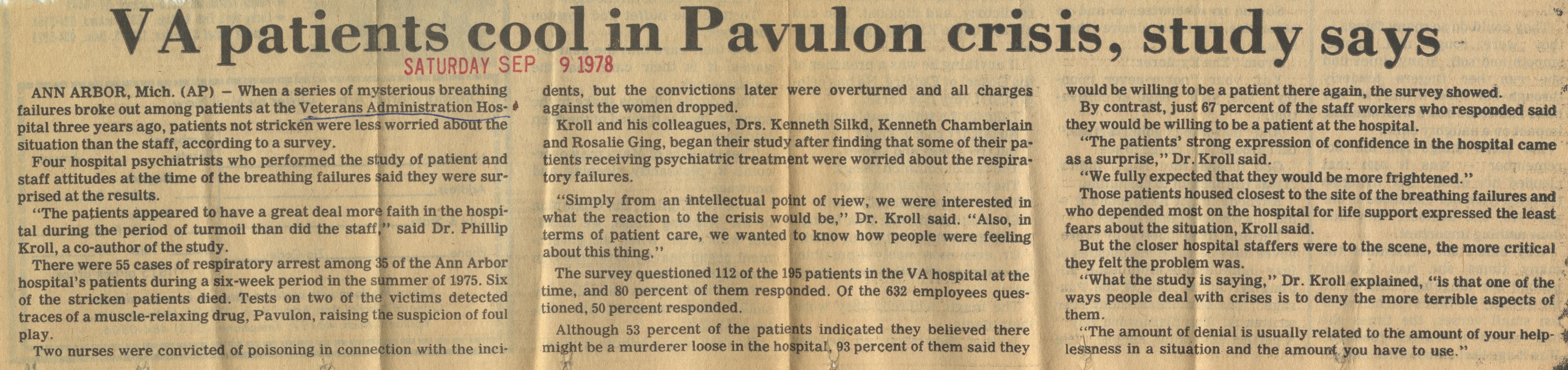 VA Patients Cool In Pavulon Crisis, Study Says image