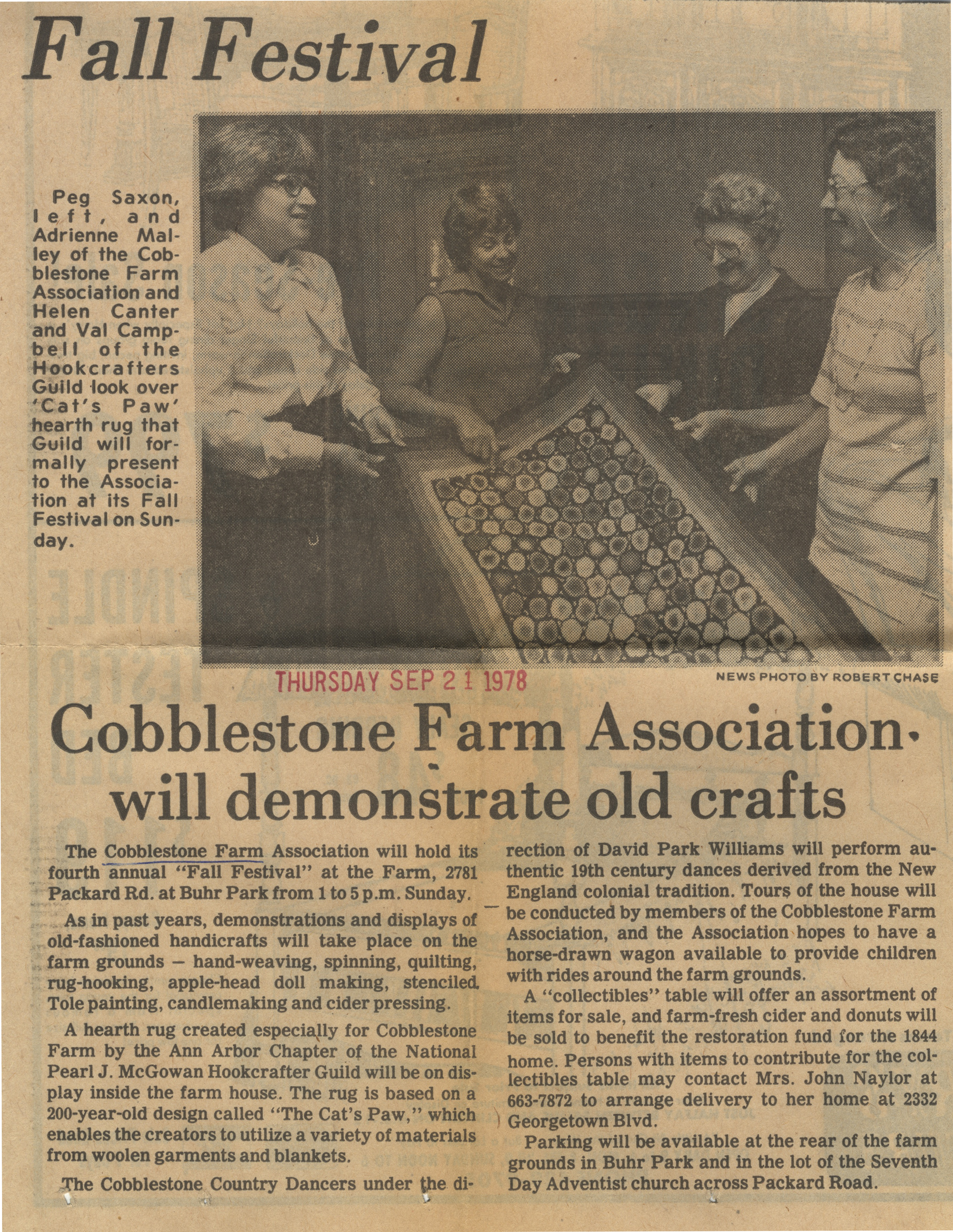 Cobblestone Farm Association Will Demonstrate Old Crafts image