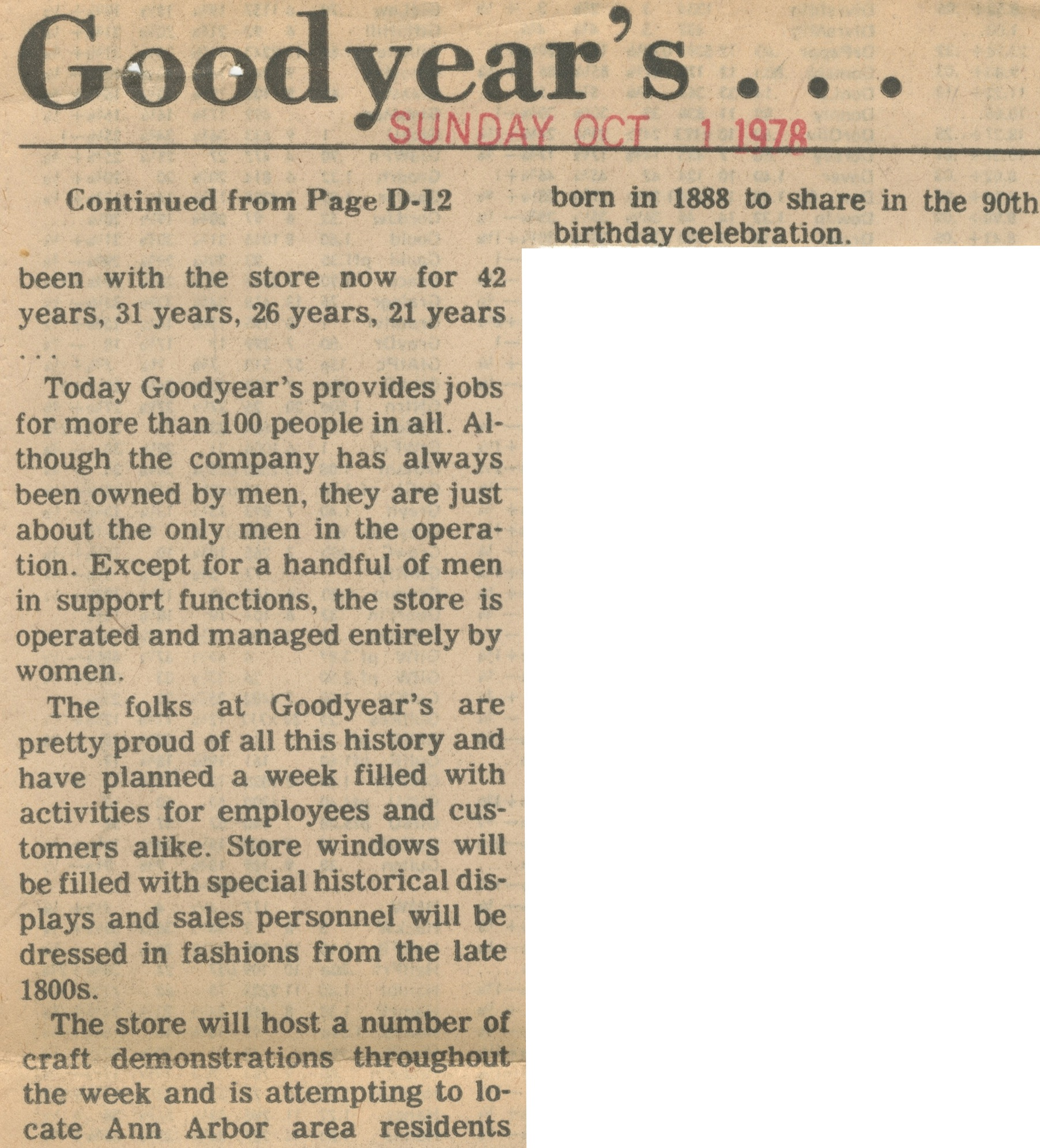 "Goodyear's Celebrates ""90 Good Years"" image"