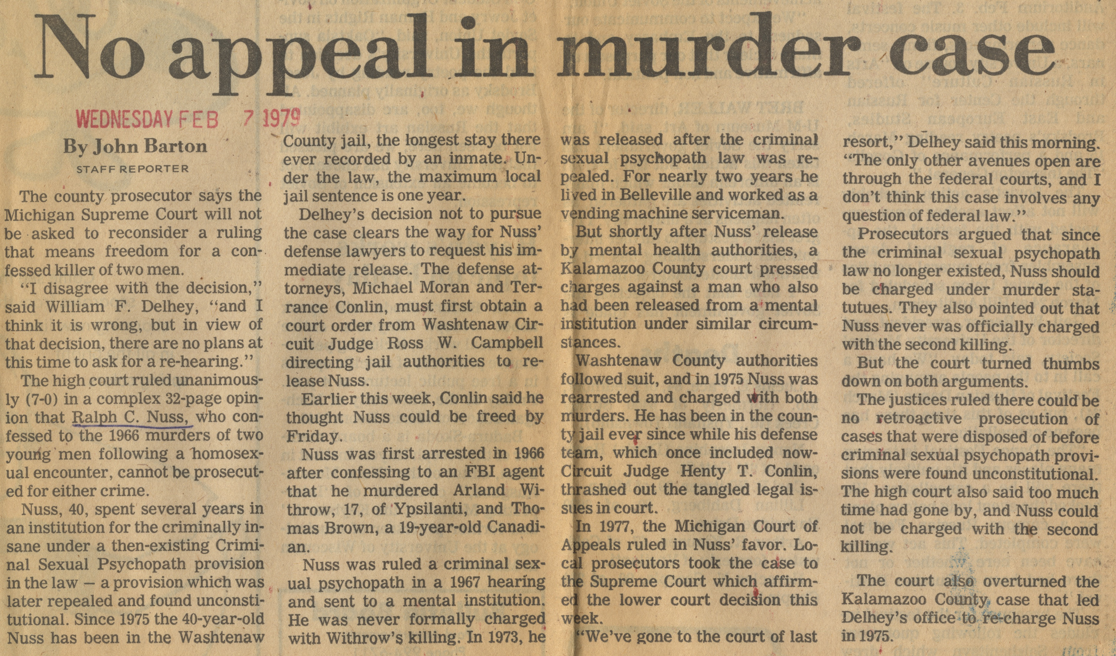 No Appeal In Murder Case image