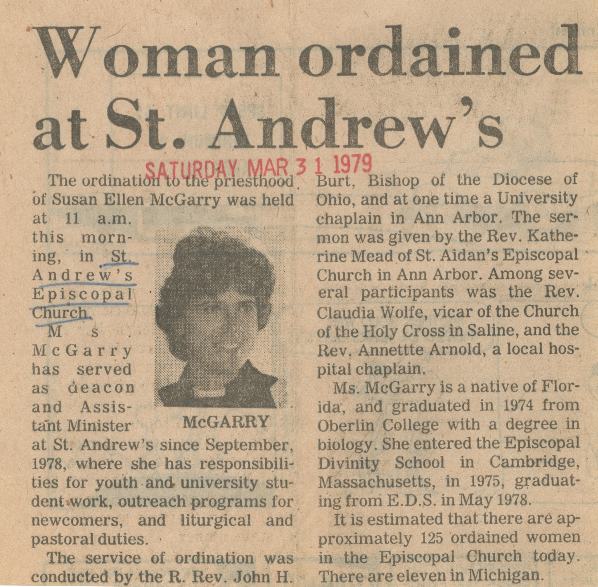 Woman Ordained At St. Andrew's image