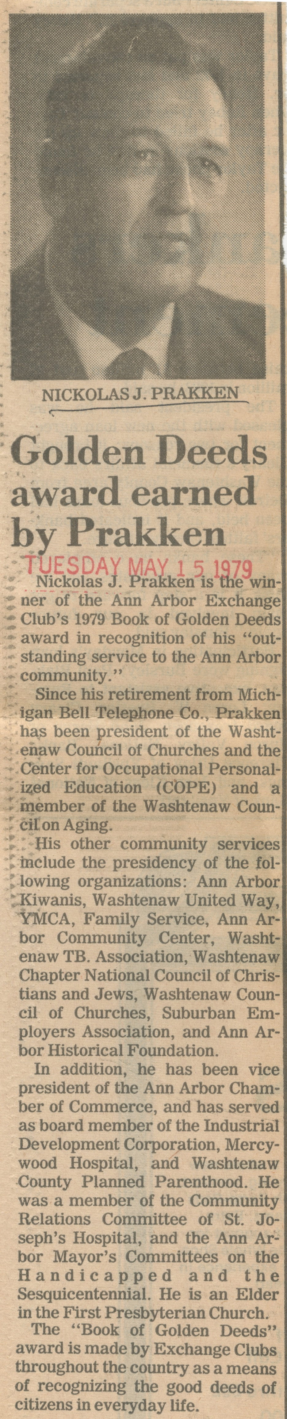 Golden Deeds Award Earned By Prakken image