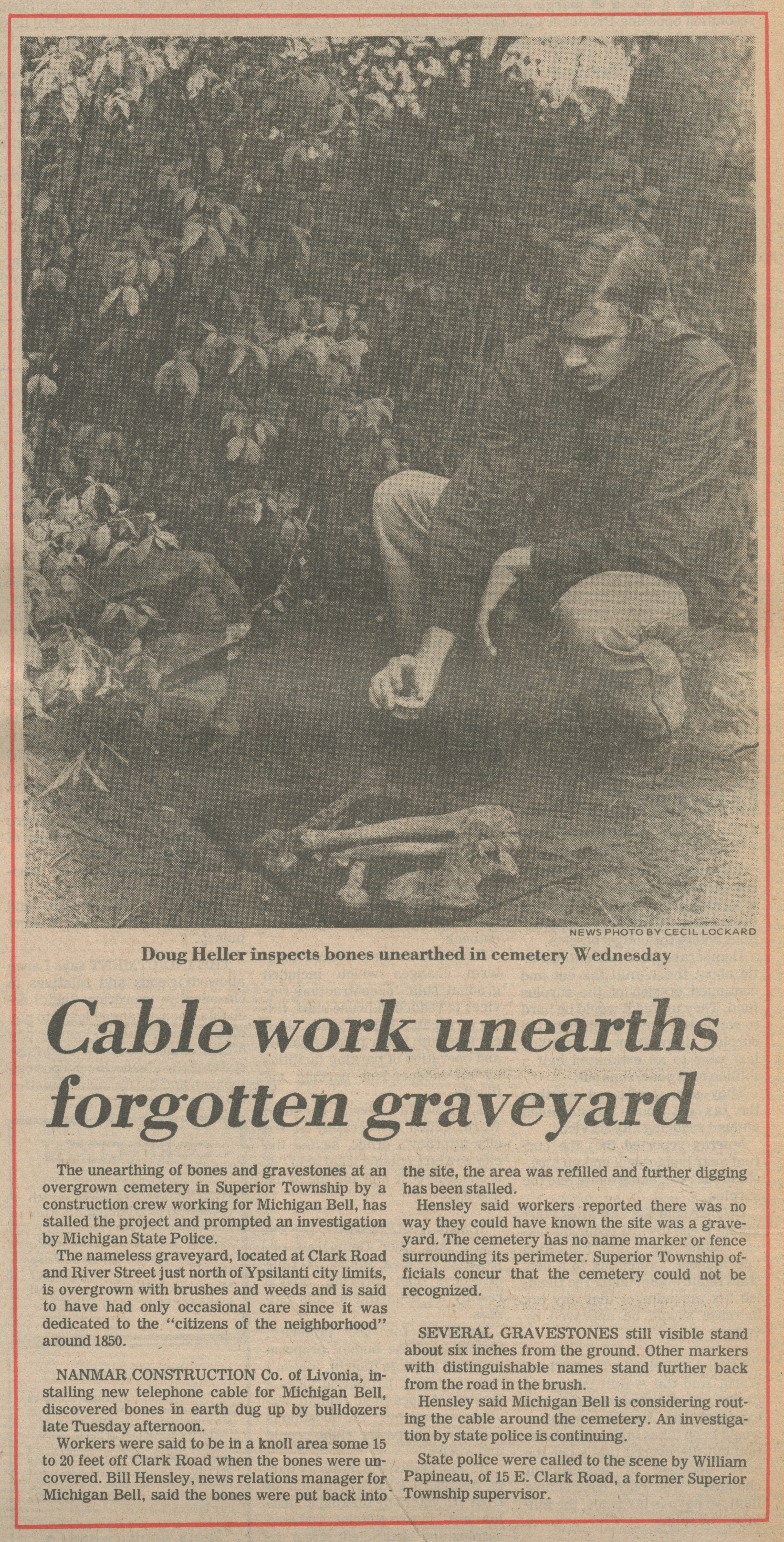 Cable work unearths forgotten graveyard image