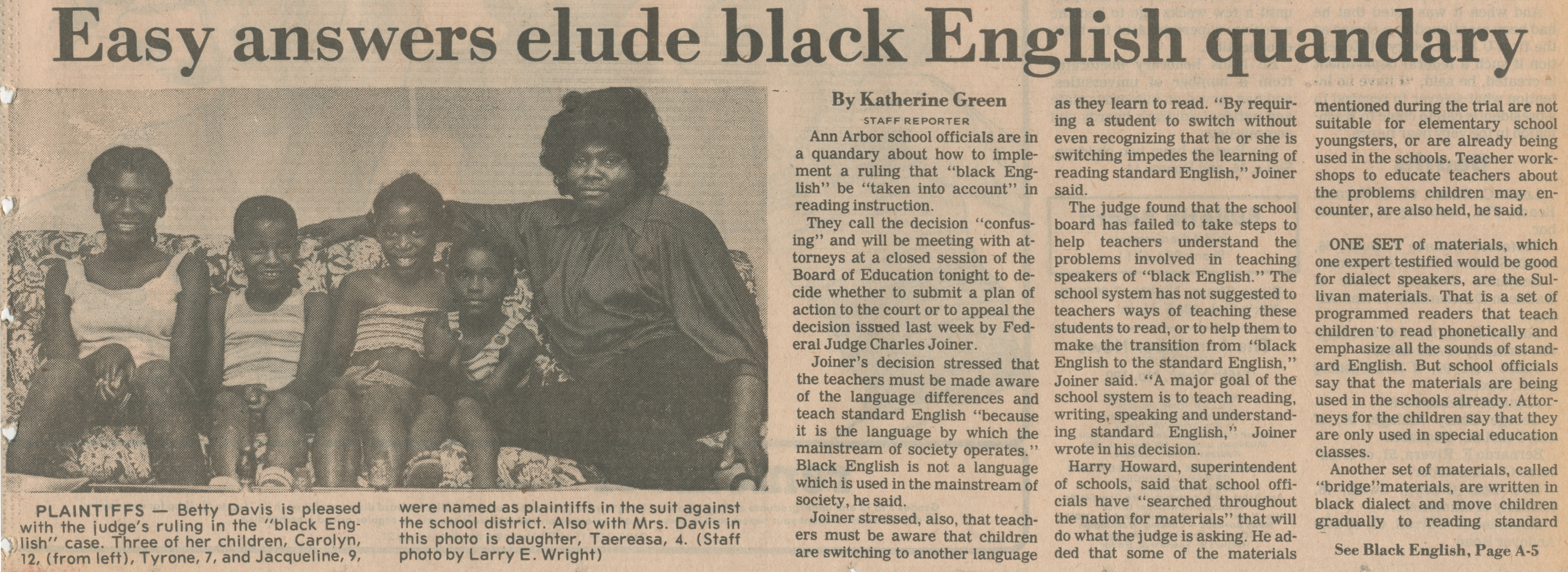 Easy Answers Elude Black English Quandry image