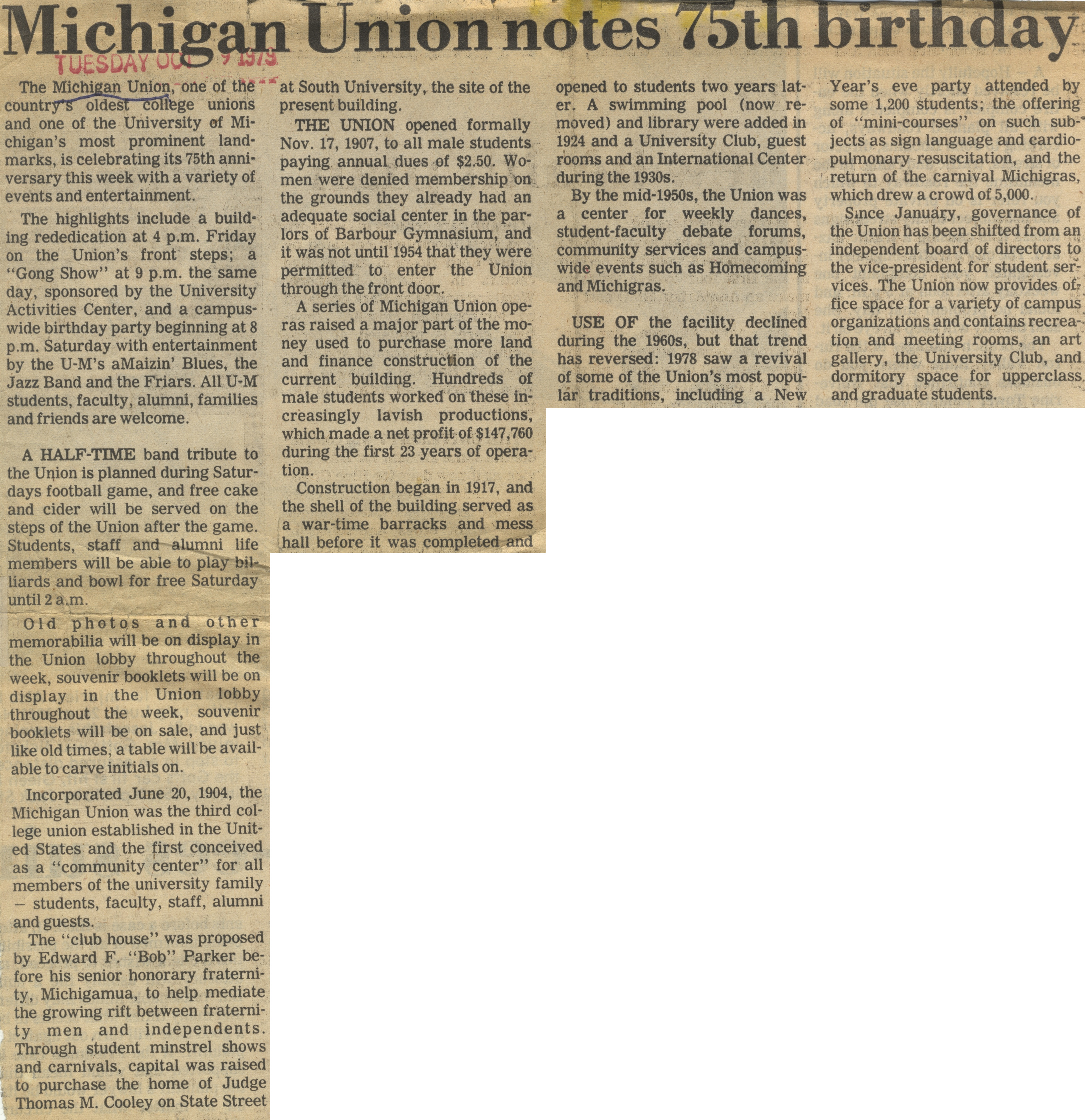 Michigan Union Notes 75th Birthday image