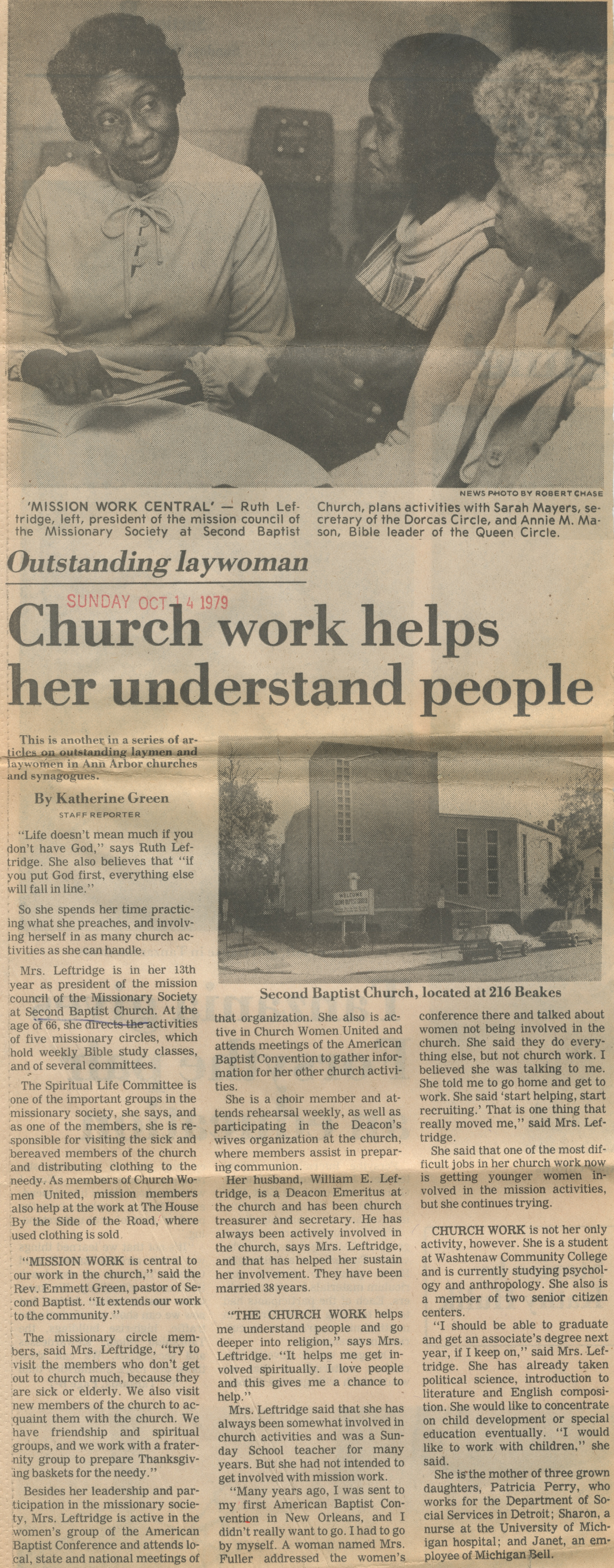 Church Work Helps Her Understand People ~ Outstanding Laywoman image