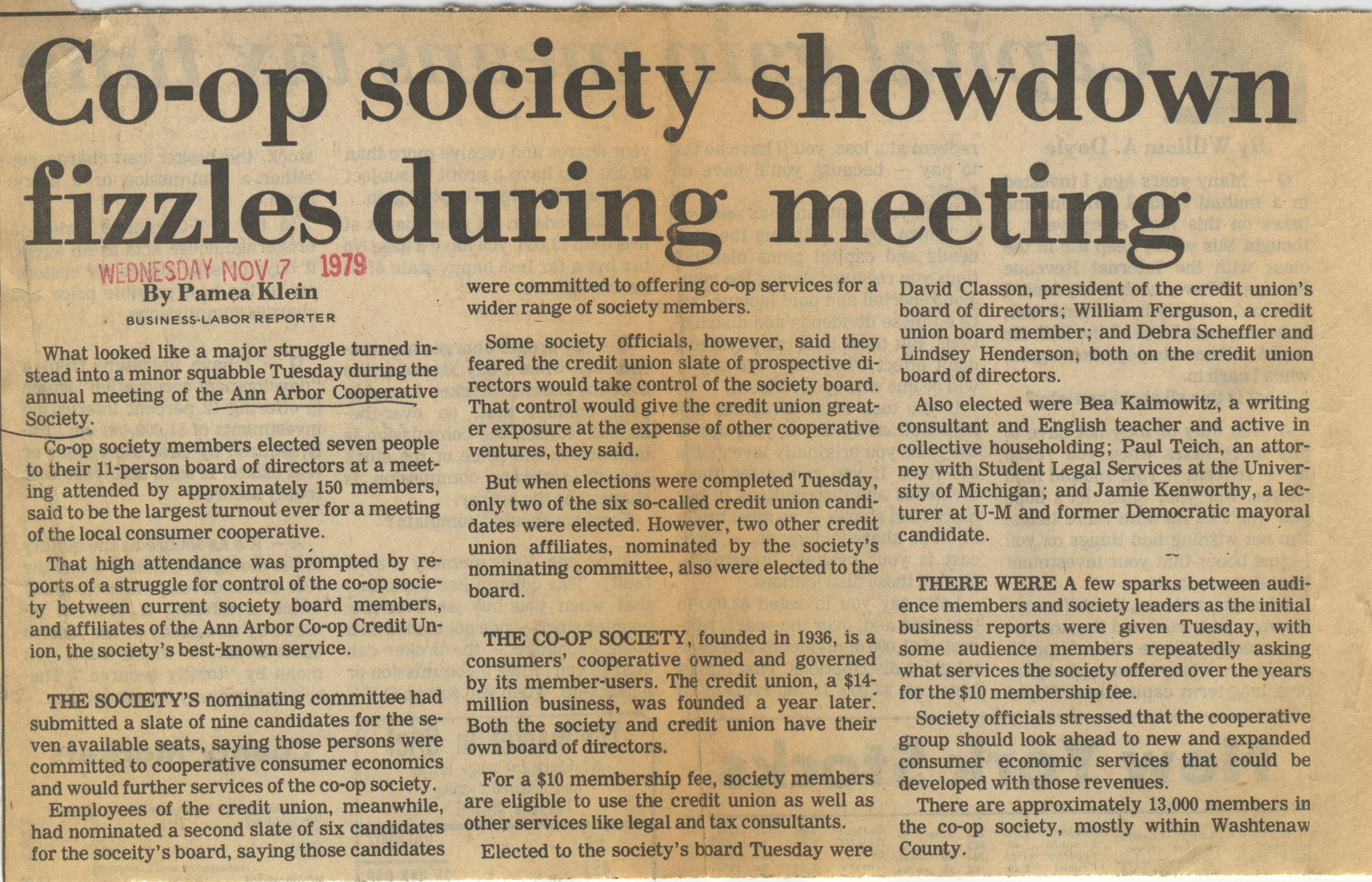Co-op Society Showdown Fizzles During Meeting image