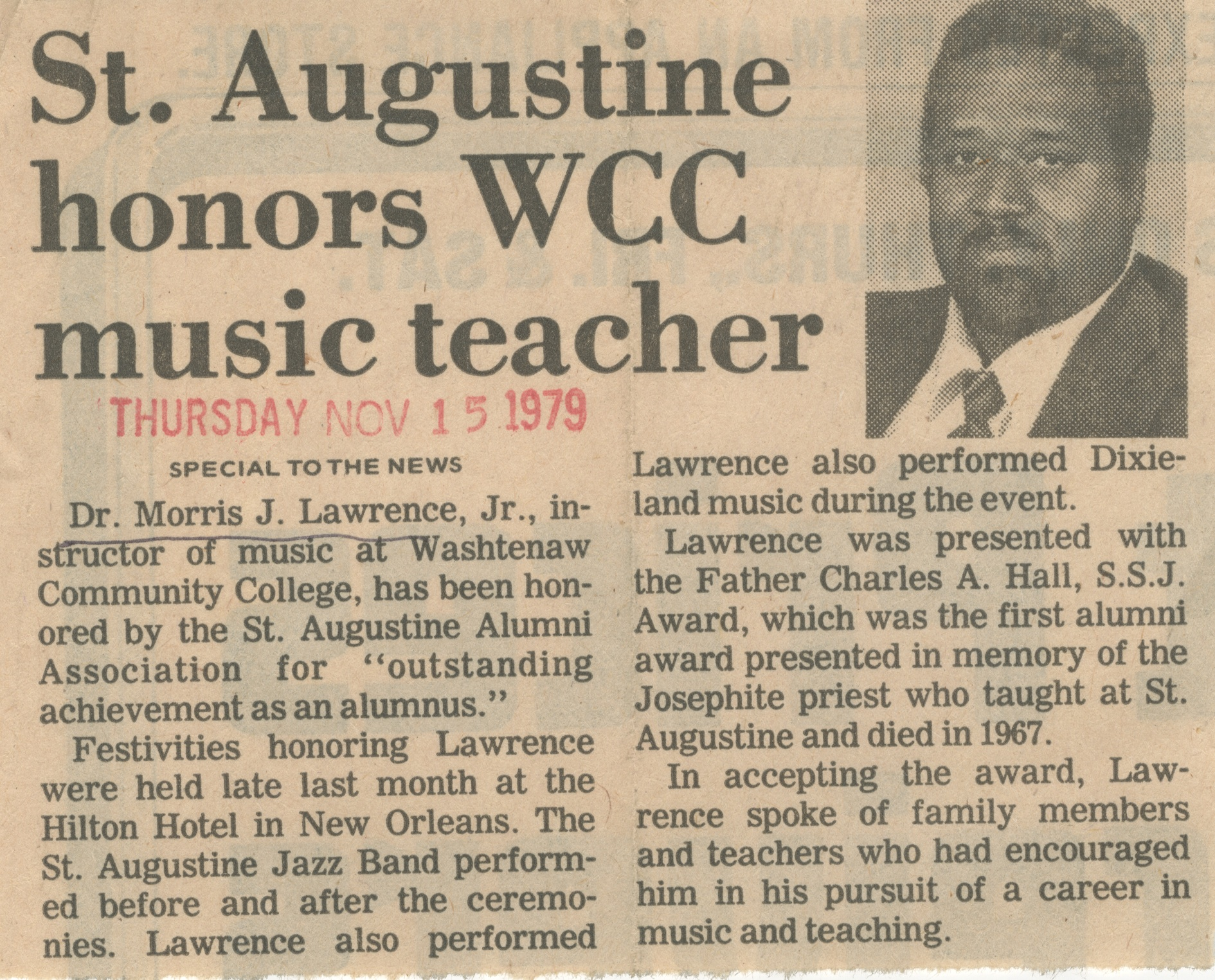 St. Augustine honors WCC music teacher image
