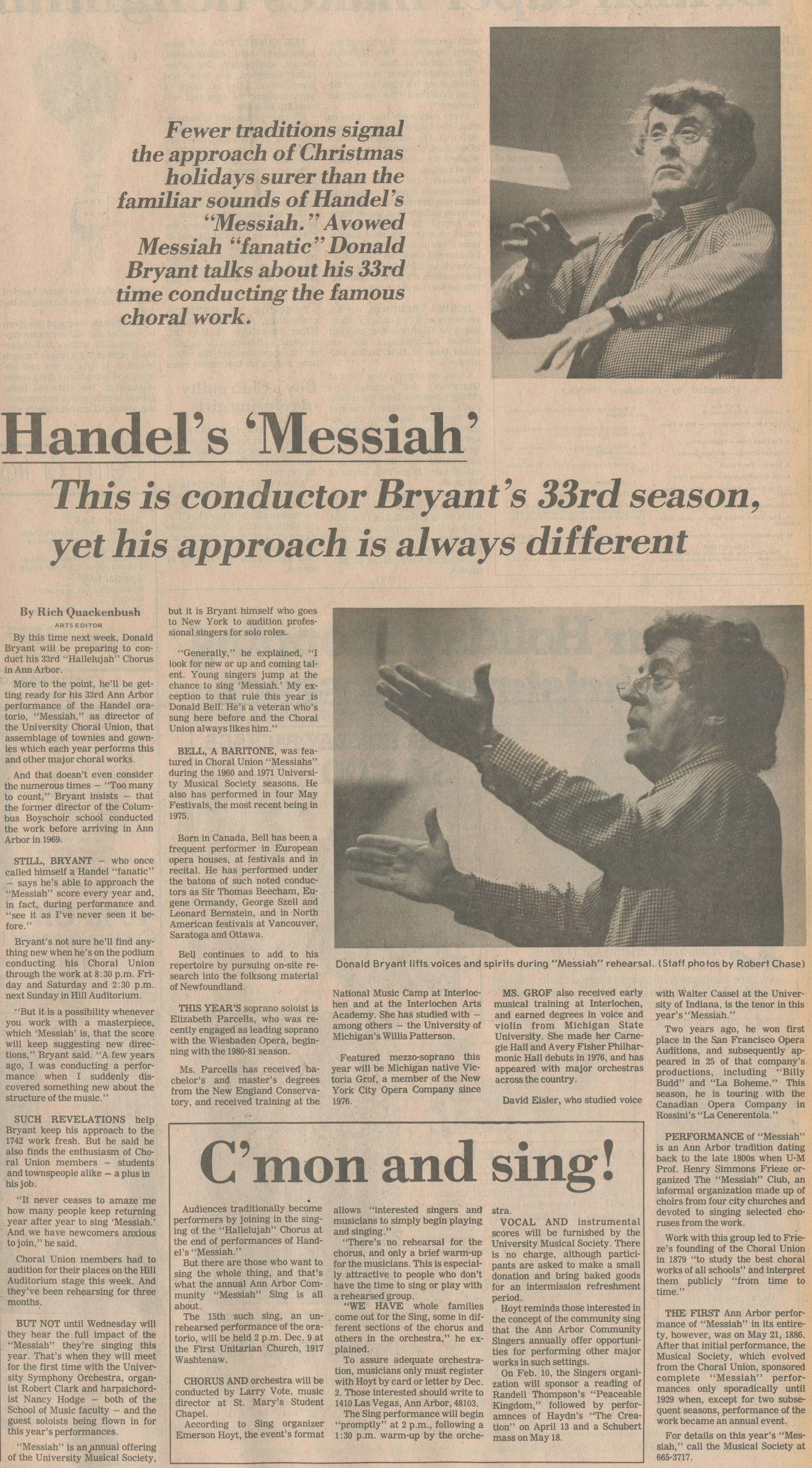 "Handel's ""Messiah"" - This Is Conductor Bryant's 33rd Season,Yet His Approach Is Always Different image"
