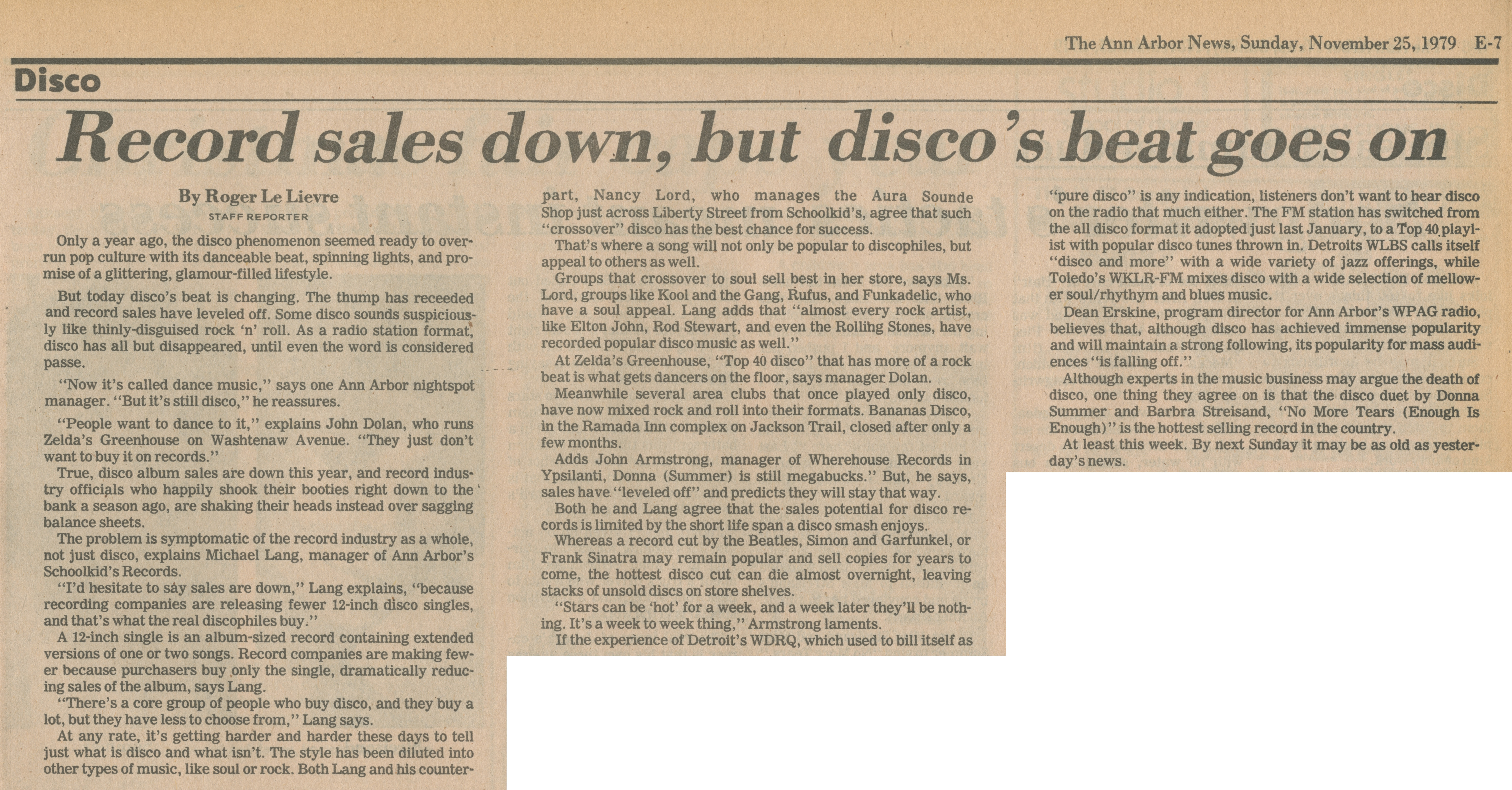 Record sales down, but disco's beat goes on image