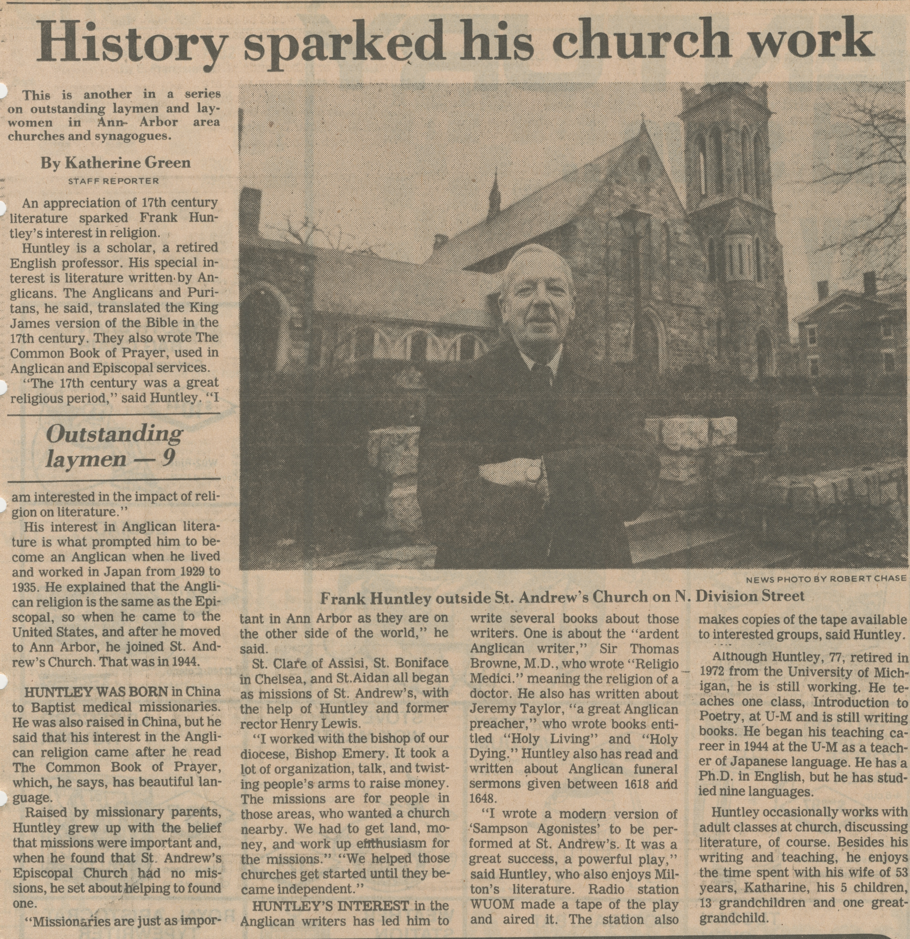 History Sparked His Church Work image