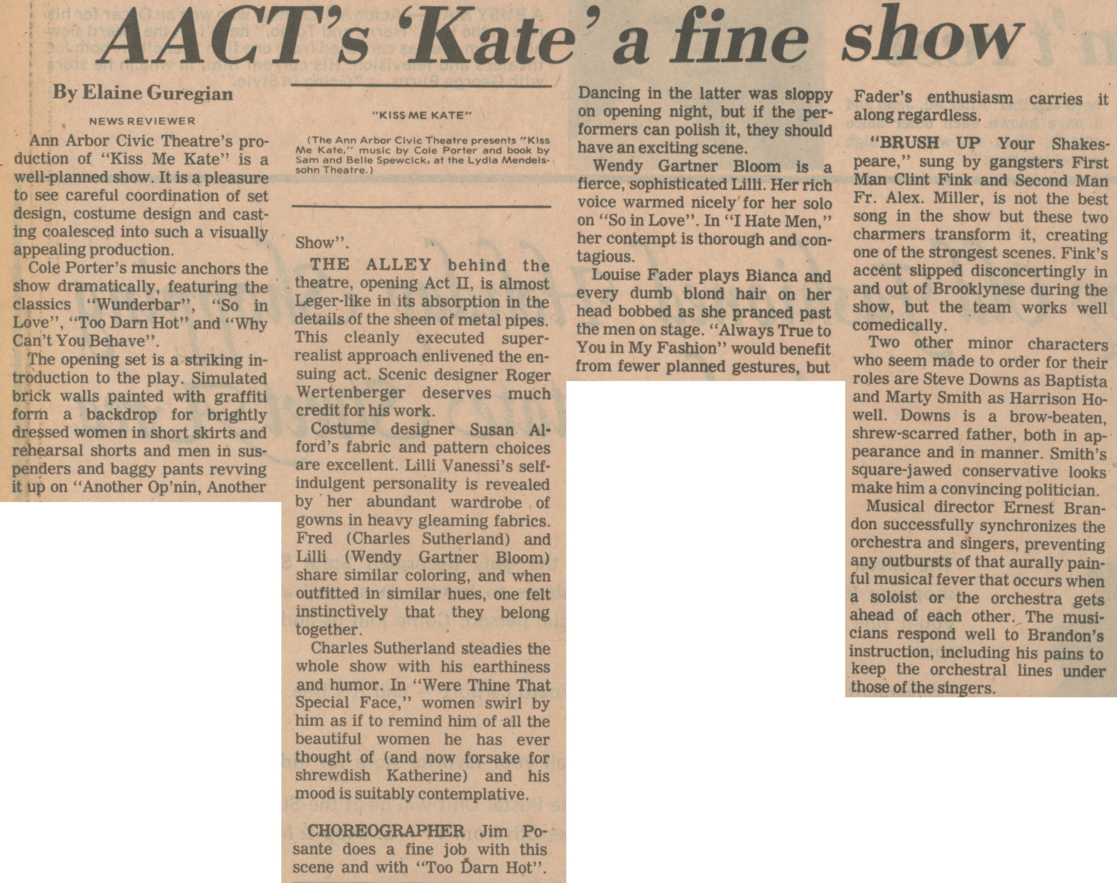 AACT's 'Kate' A Fine Show image