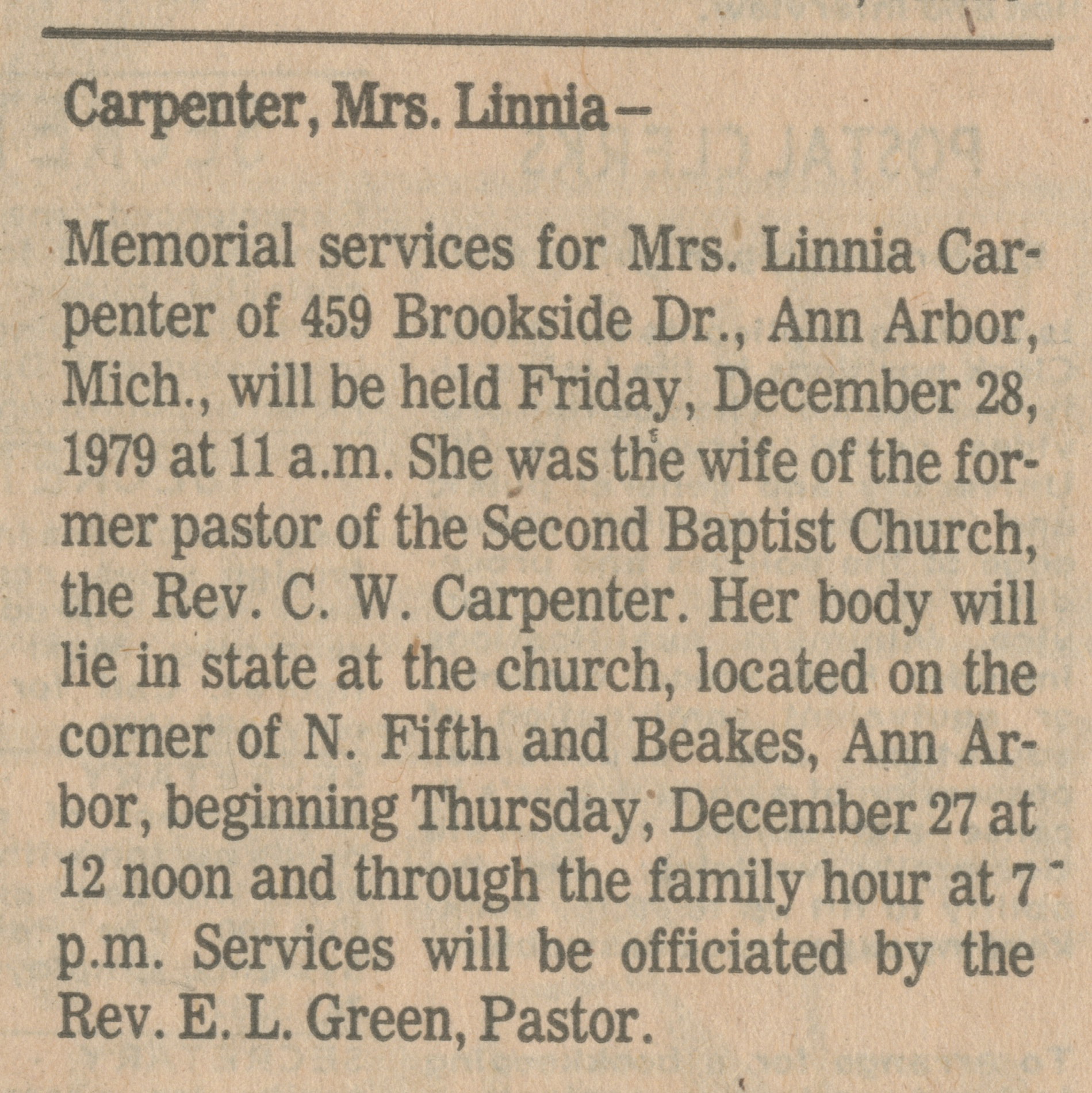 Carpenter, Mrs. Linnia image