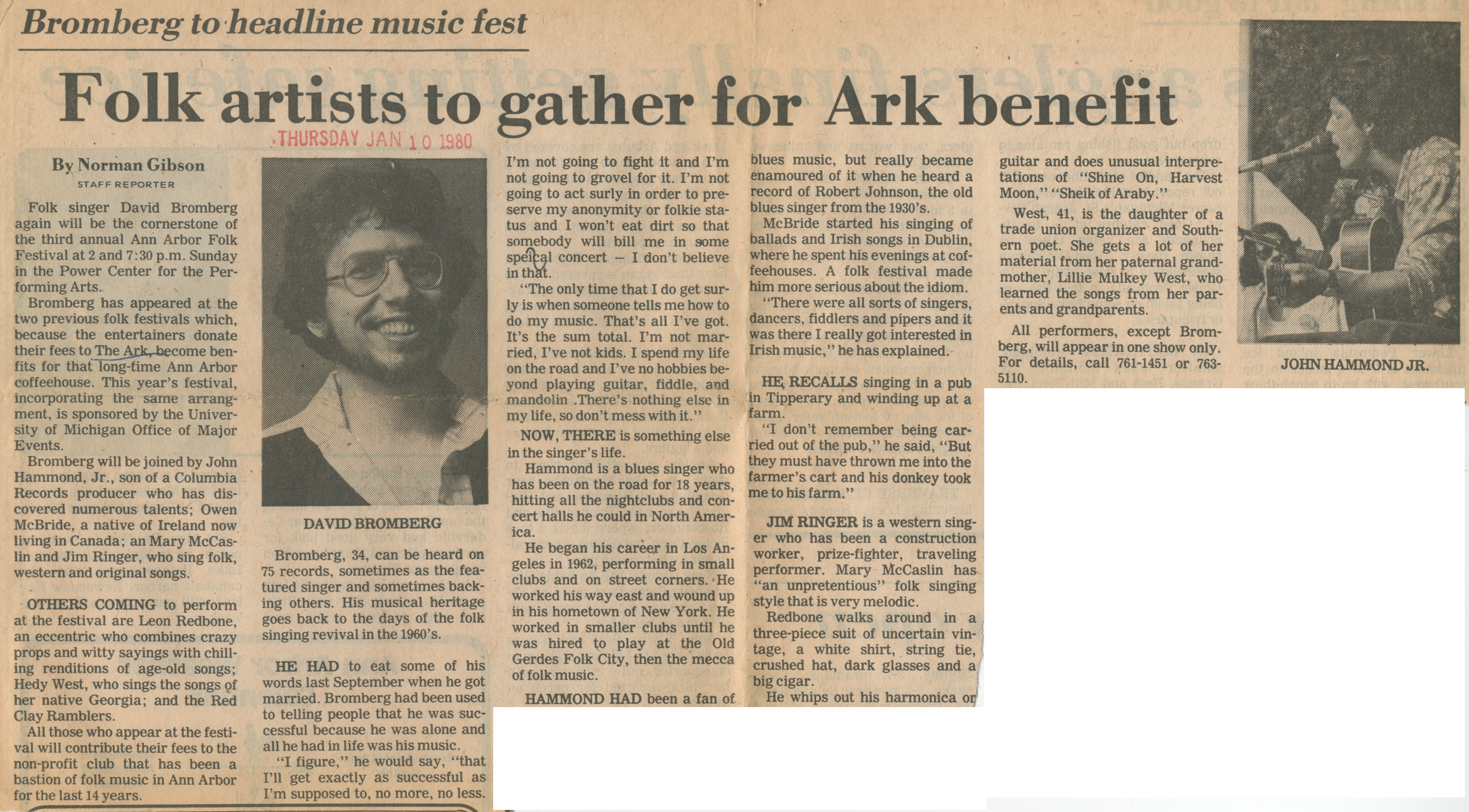 Bromberg To Headline Music Fest Folk Artists To Gather For Ark Benefit image