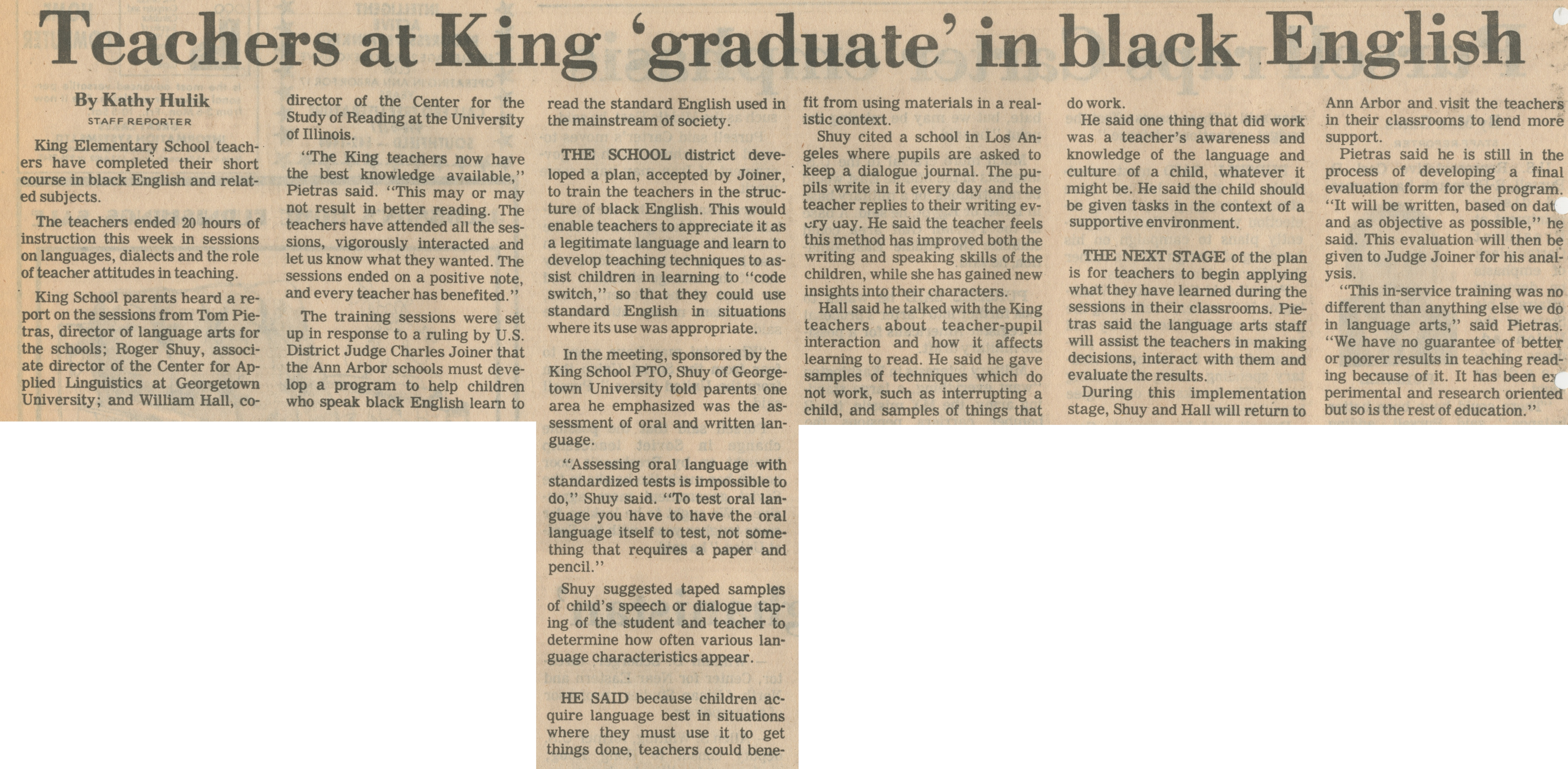 Teachers At King 'Graduate' In Black English image