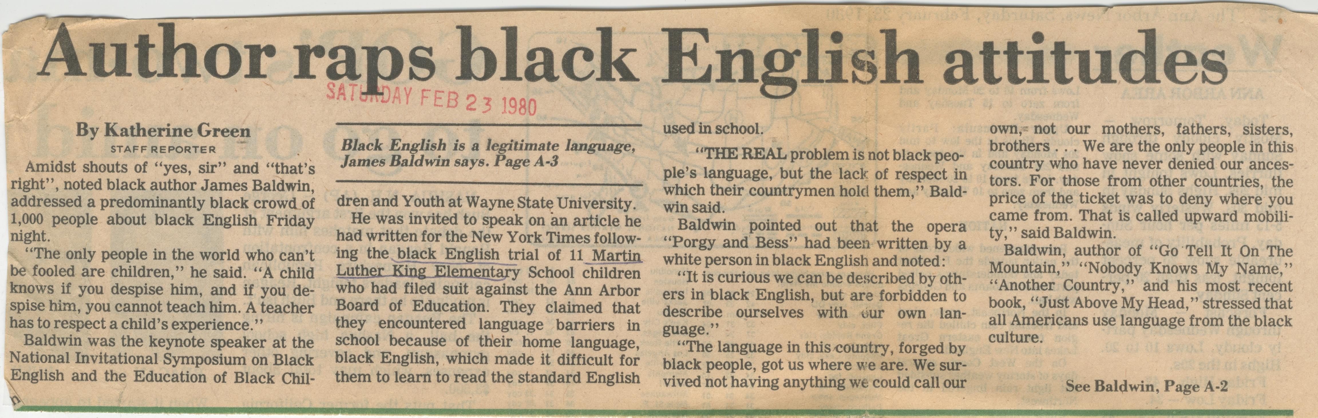 james baldwin black english