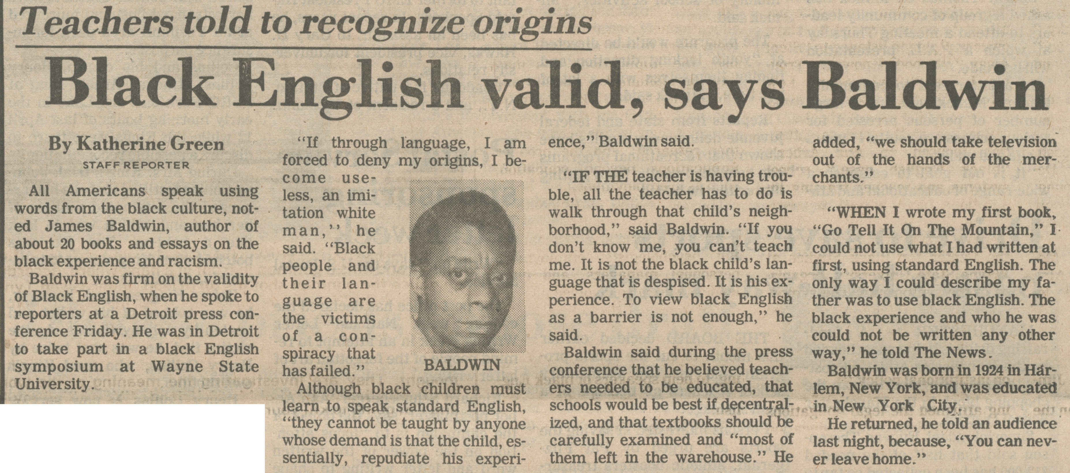 Teachers Told To Recognize Origins ~ Black English Valid, Says Baldwin image