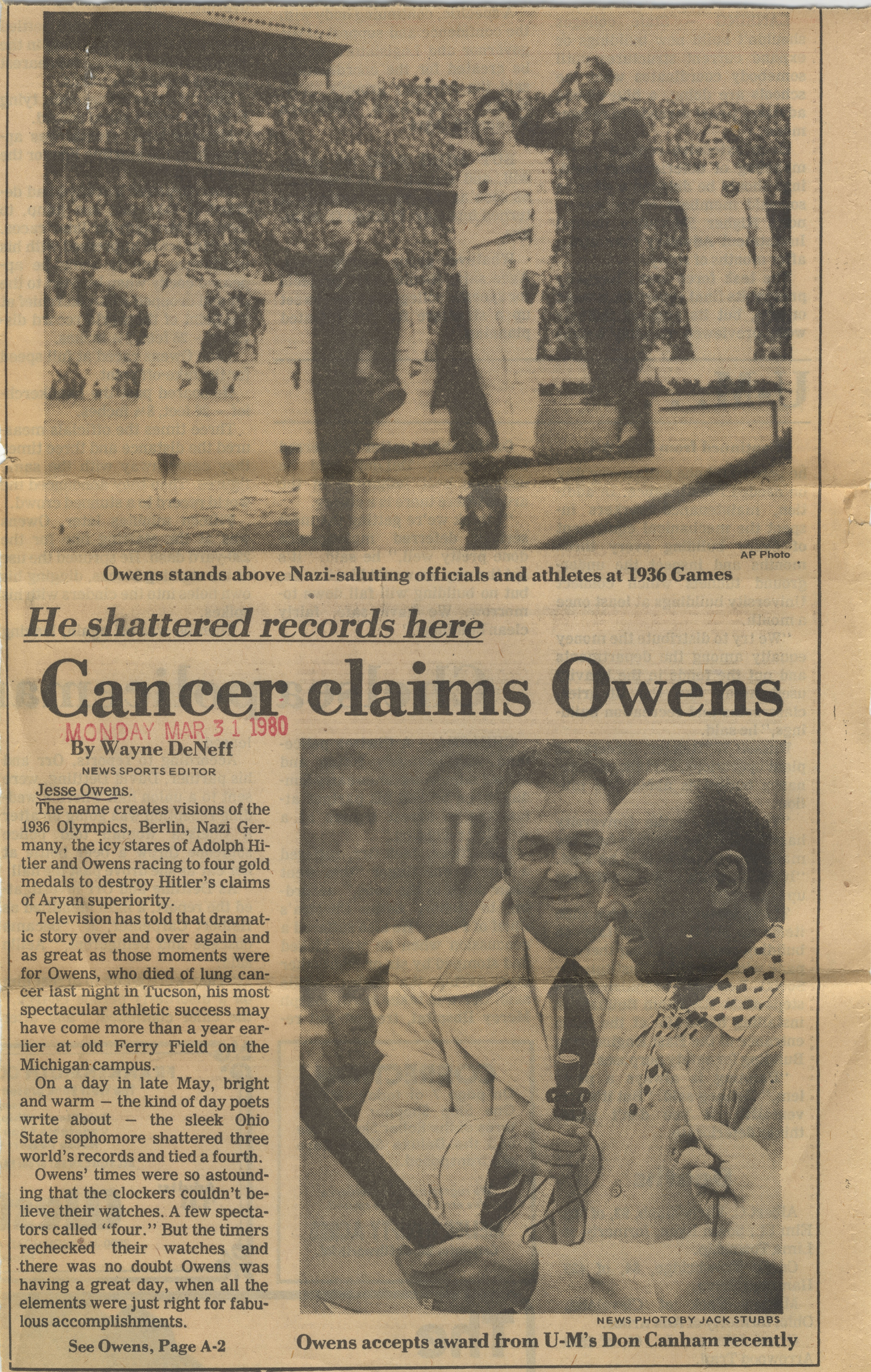 Cancer claims Owens image