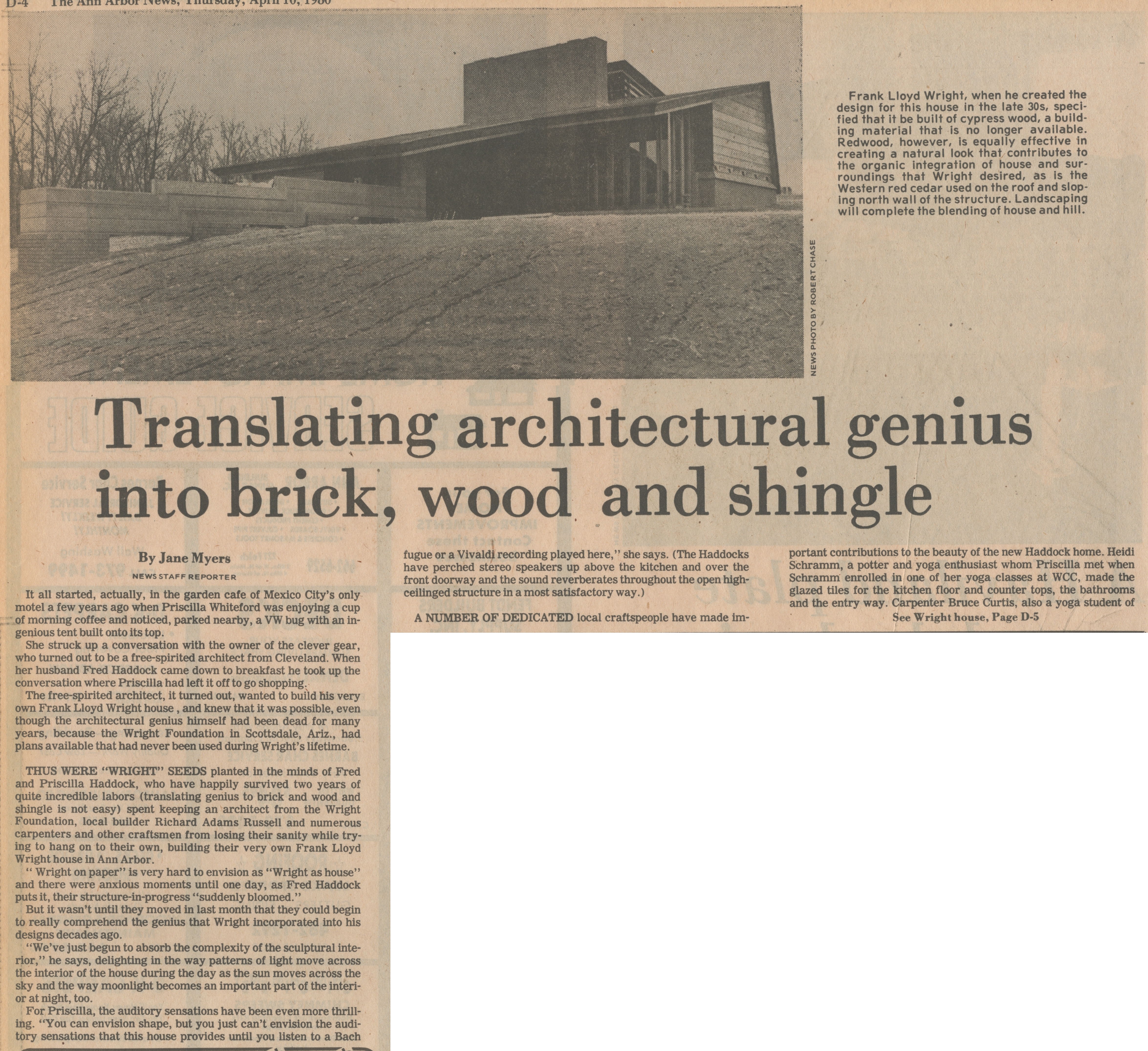 Translating Architectural Genius Into Brick, Wood And Shingle image
