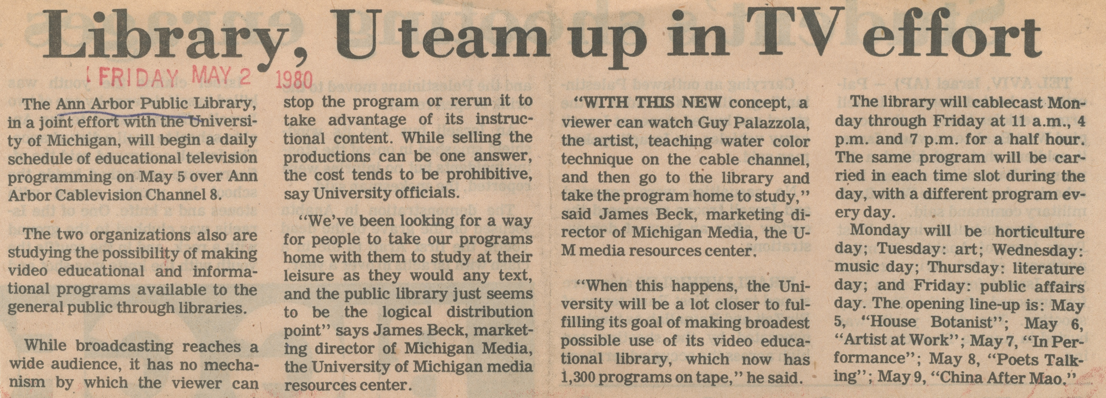 Library, U Team Up In TV Effort image