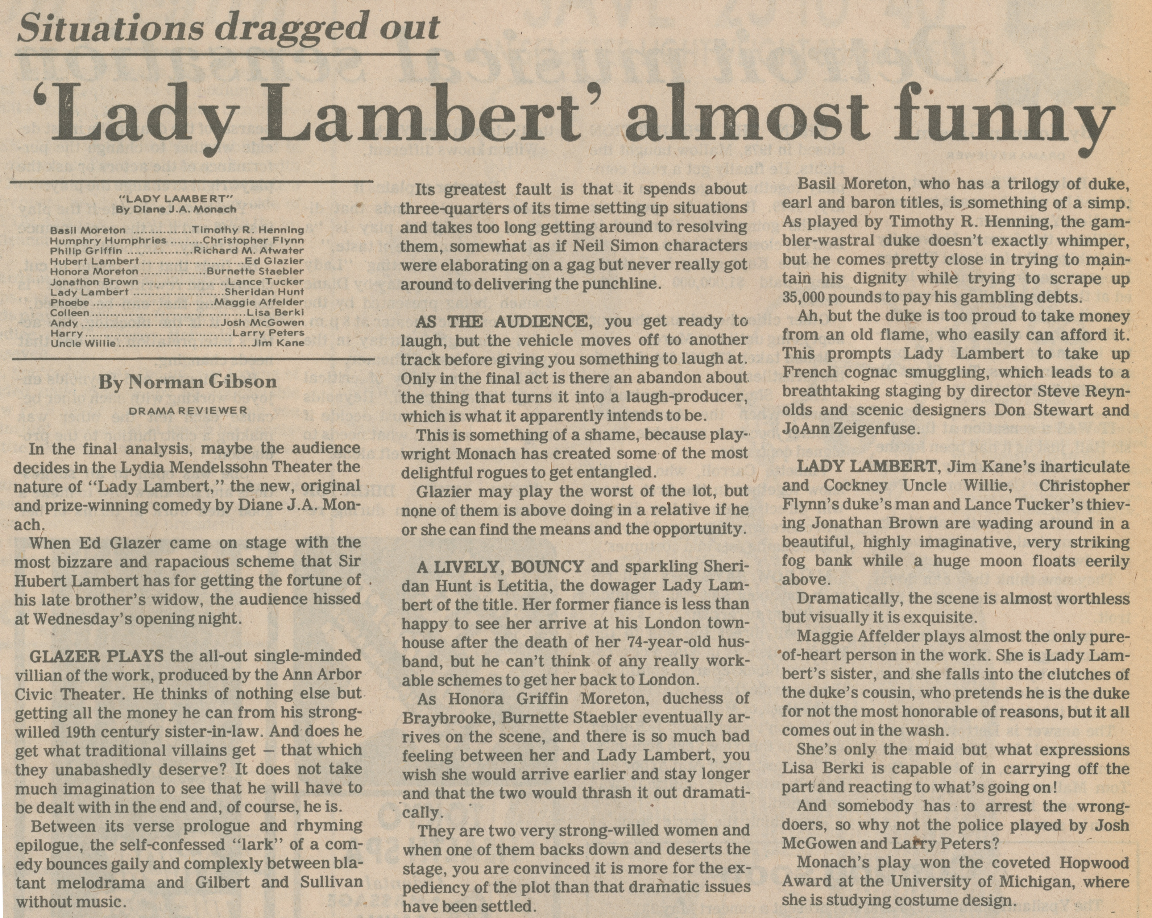 Situations Dragged Out - 'Lady Lambert' Almost Funny image