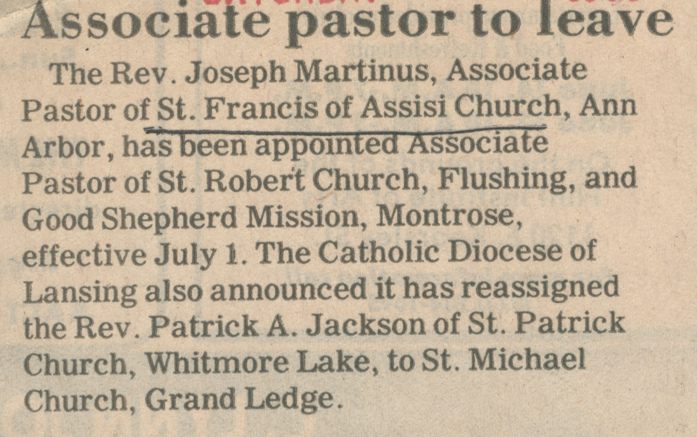 Associate Pastor to Leave image