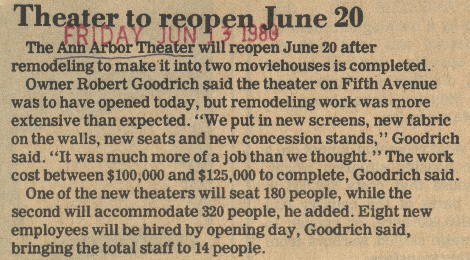 Theater To Reopen June 20 image