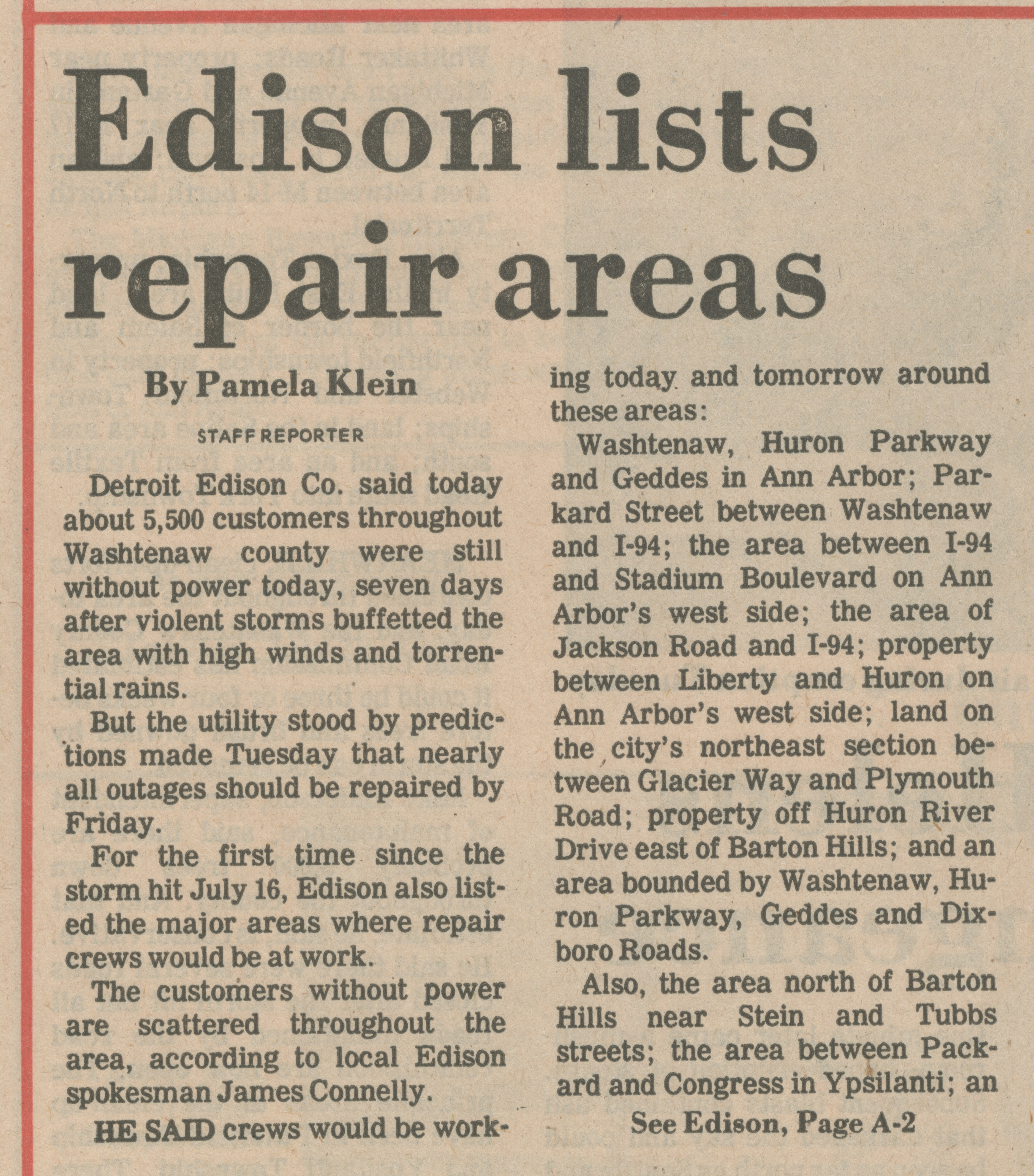 Edison lists repair areas image