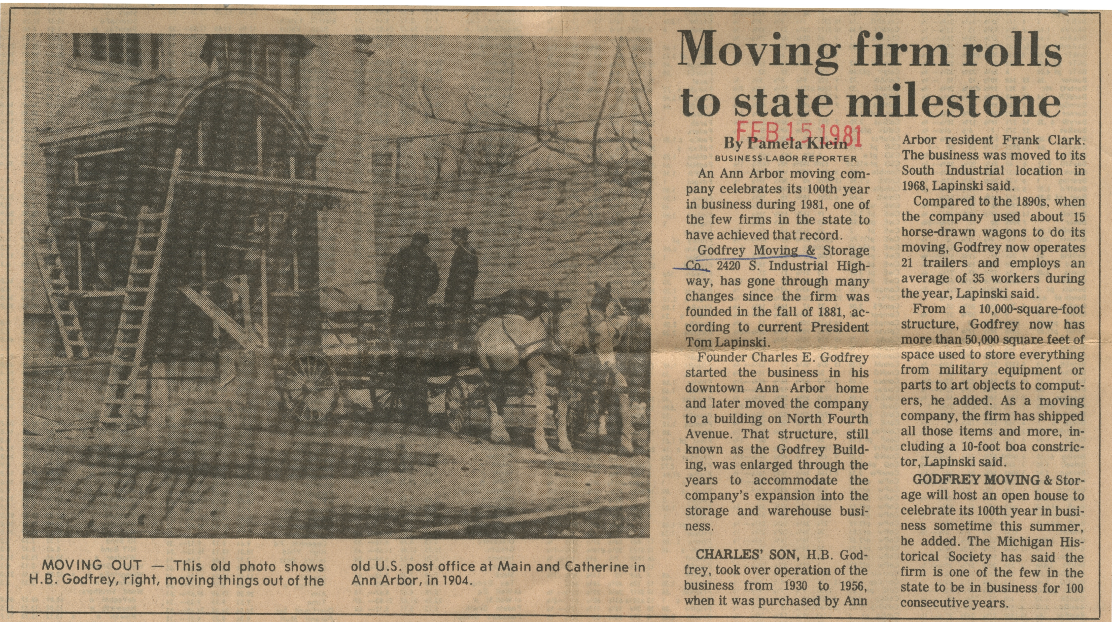 Moving Firm Rolls To State Milestone image