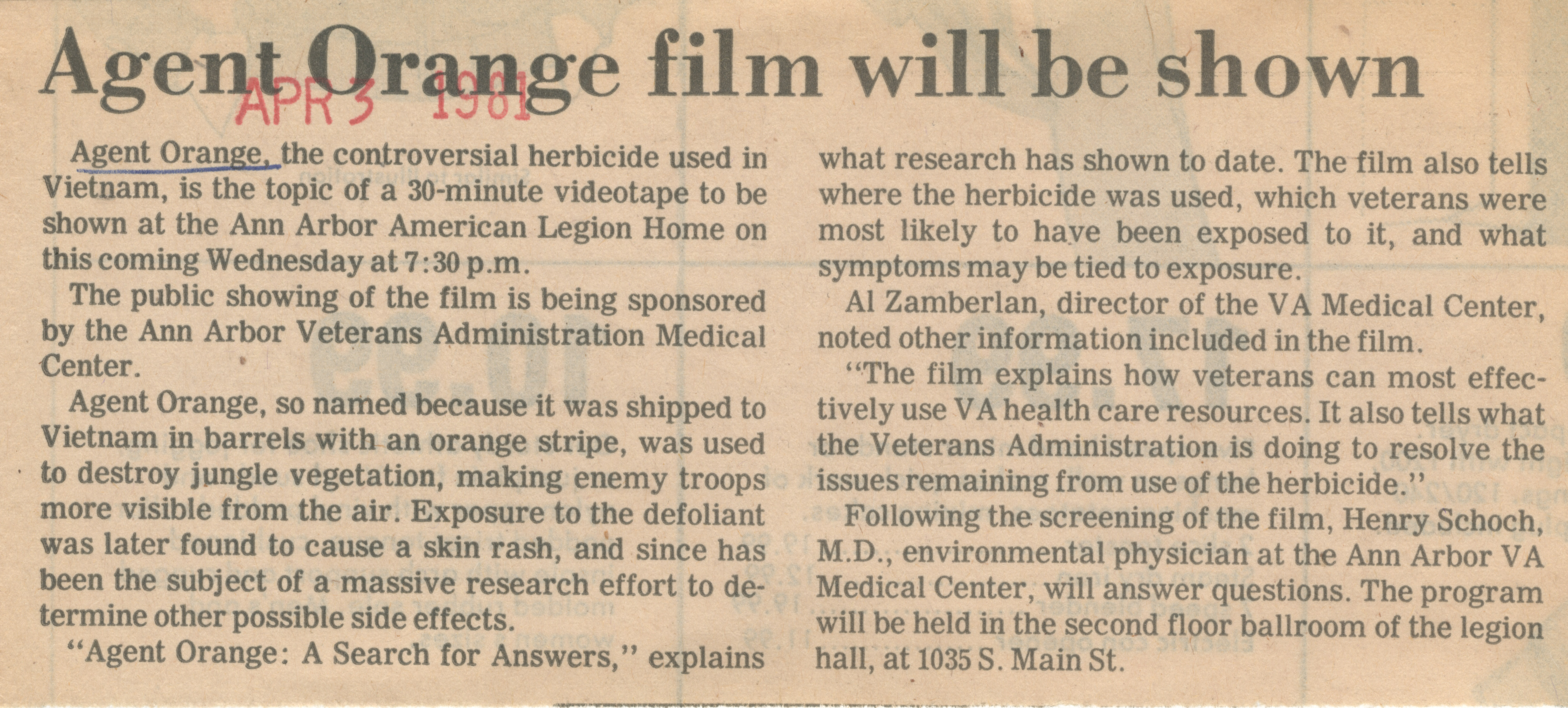 Agent Orange Films Will Be Shown image