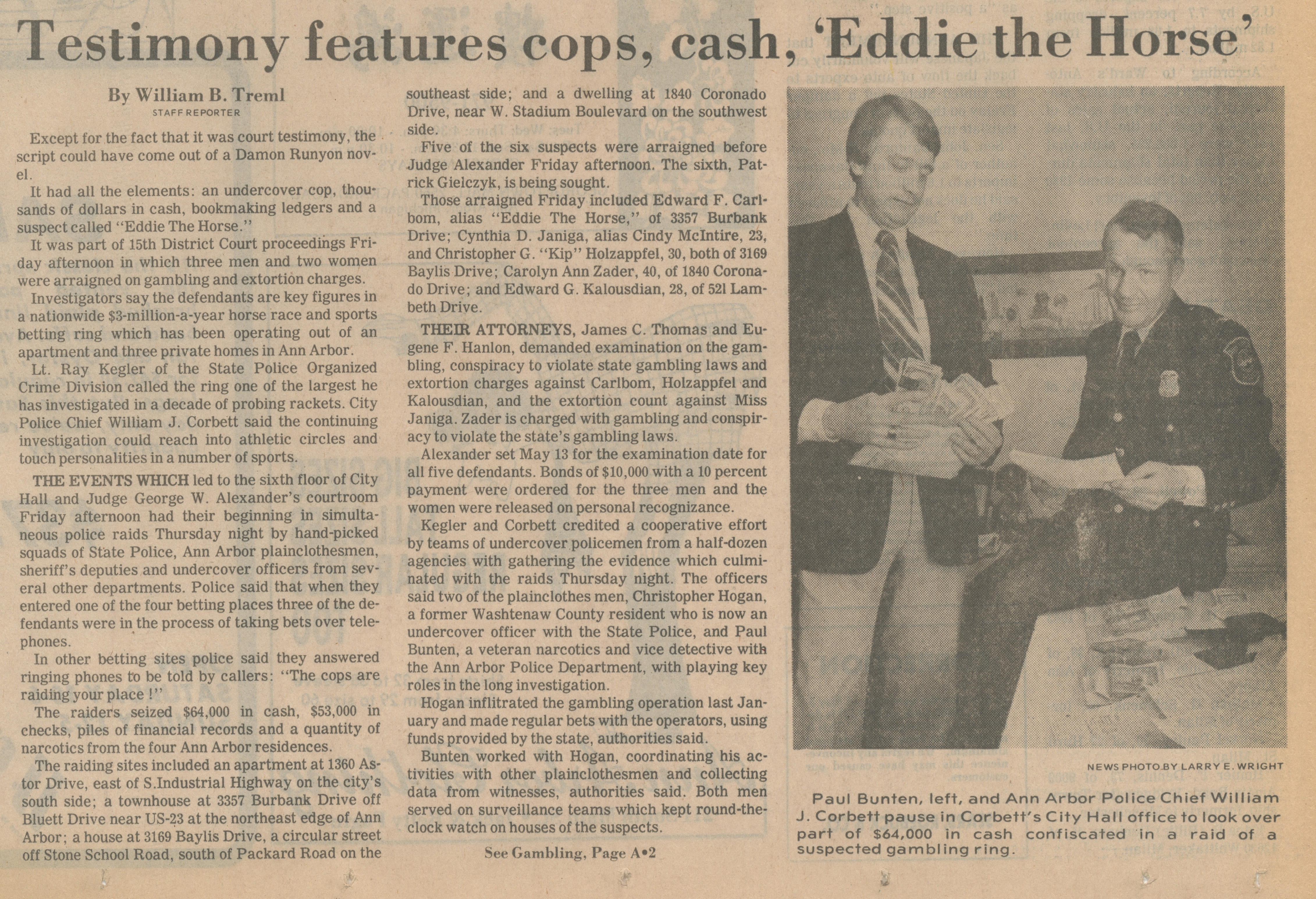 Testimony Features Cops, Cash, 'Eddie the Horse' image