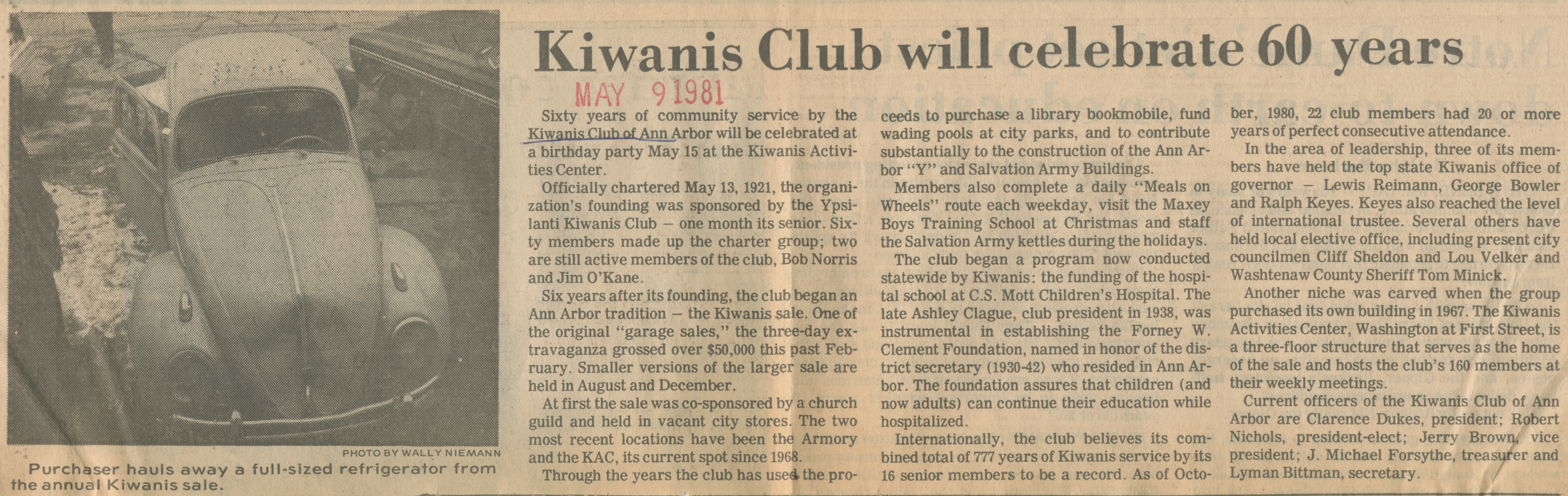 Kiwanis Club Will Celebrate 60 Years image