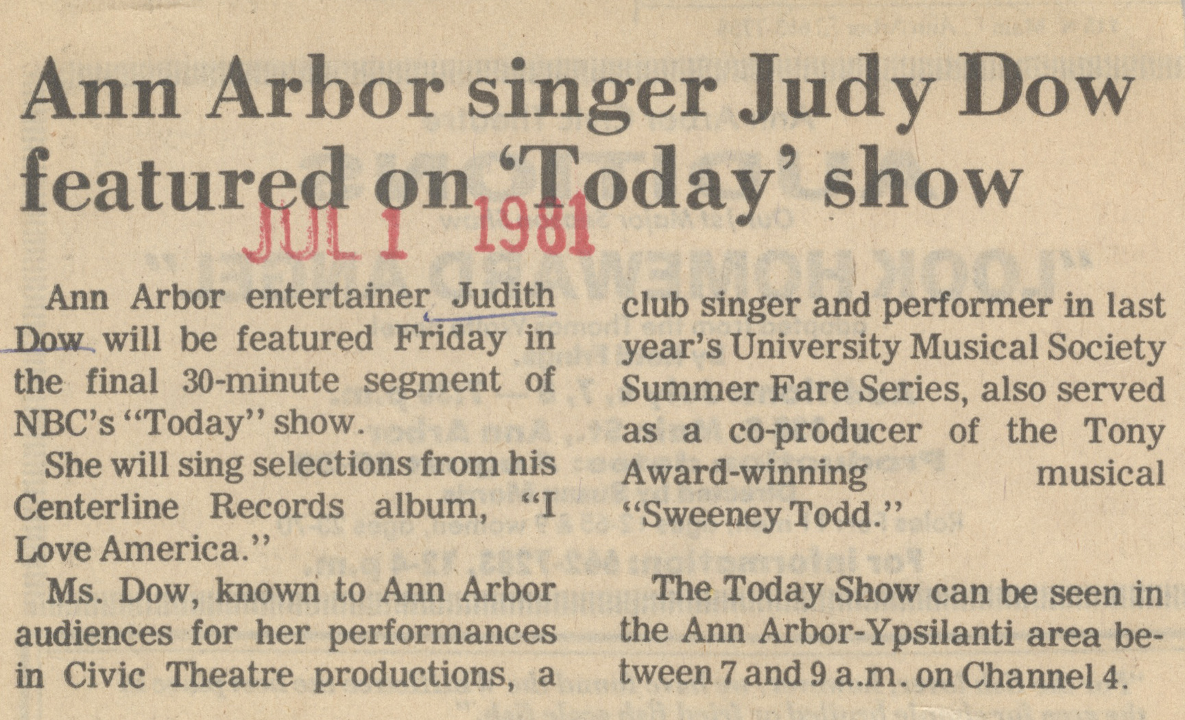 Ann Arbor Singer Judy Dow Featured On Today Show image