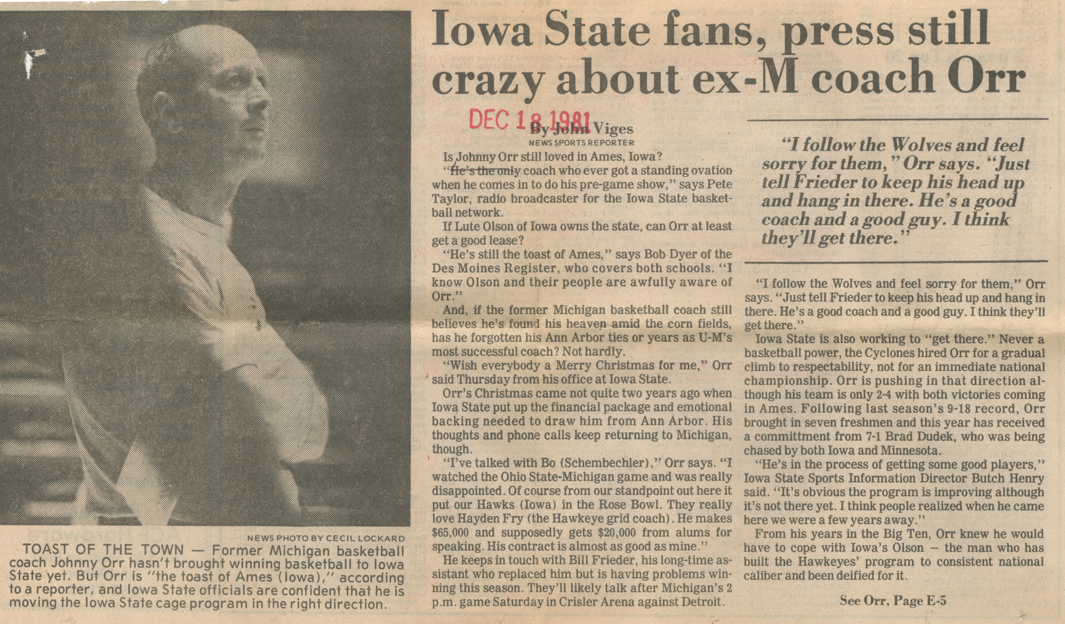 Iowa State Fans, Press Still Crazy About Ex-M Coach Orr image