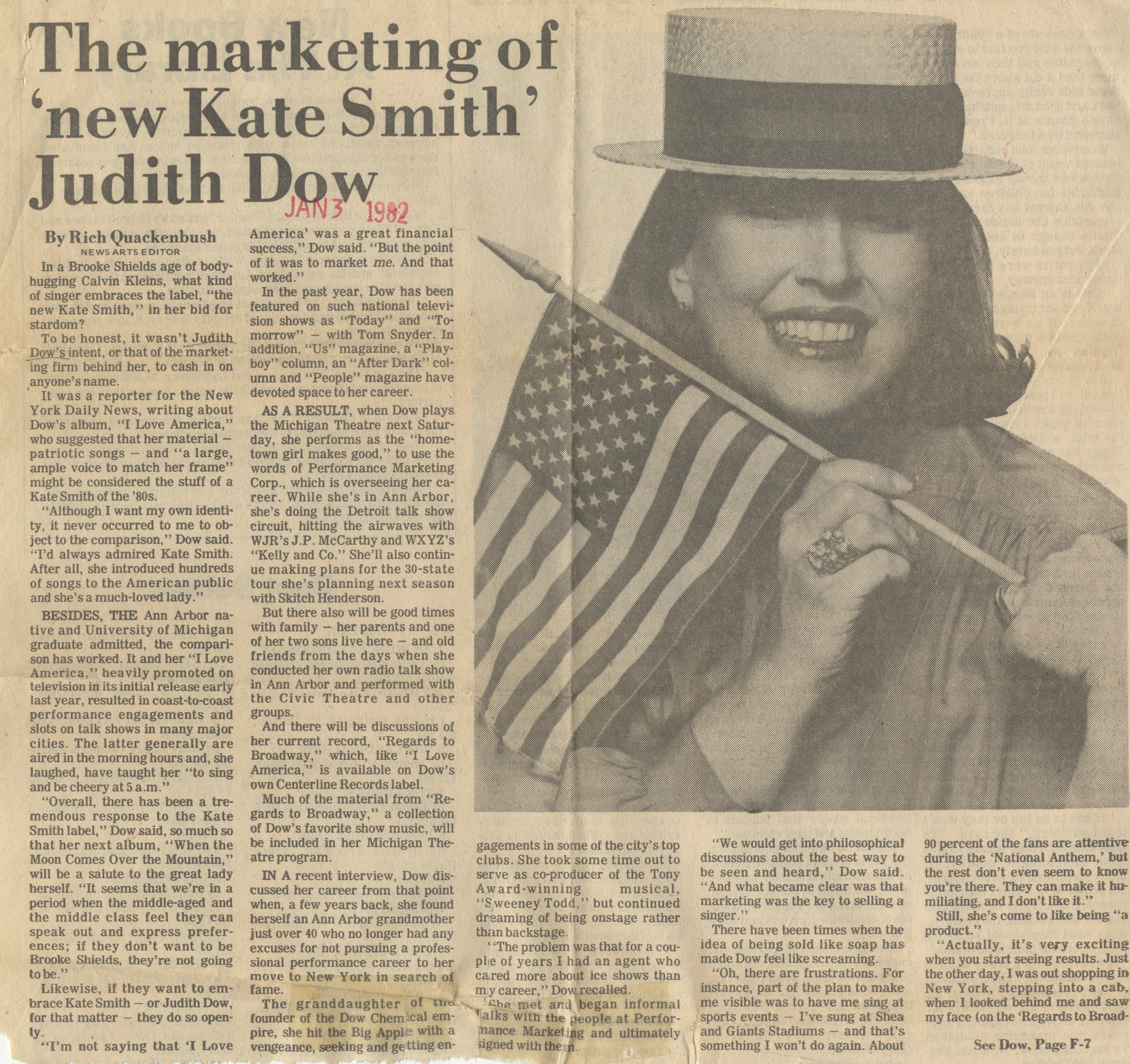 The Marketing Of  'New Kate Smith' Judith Dow image