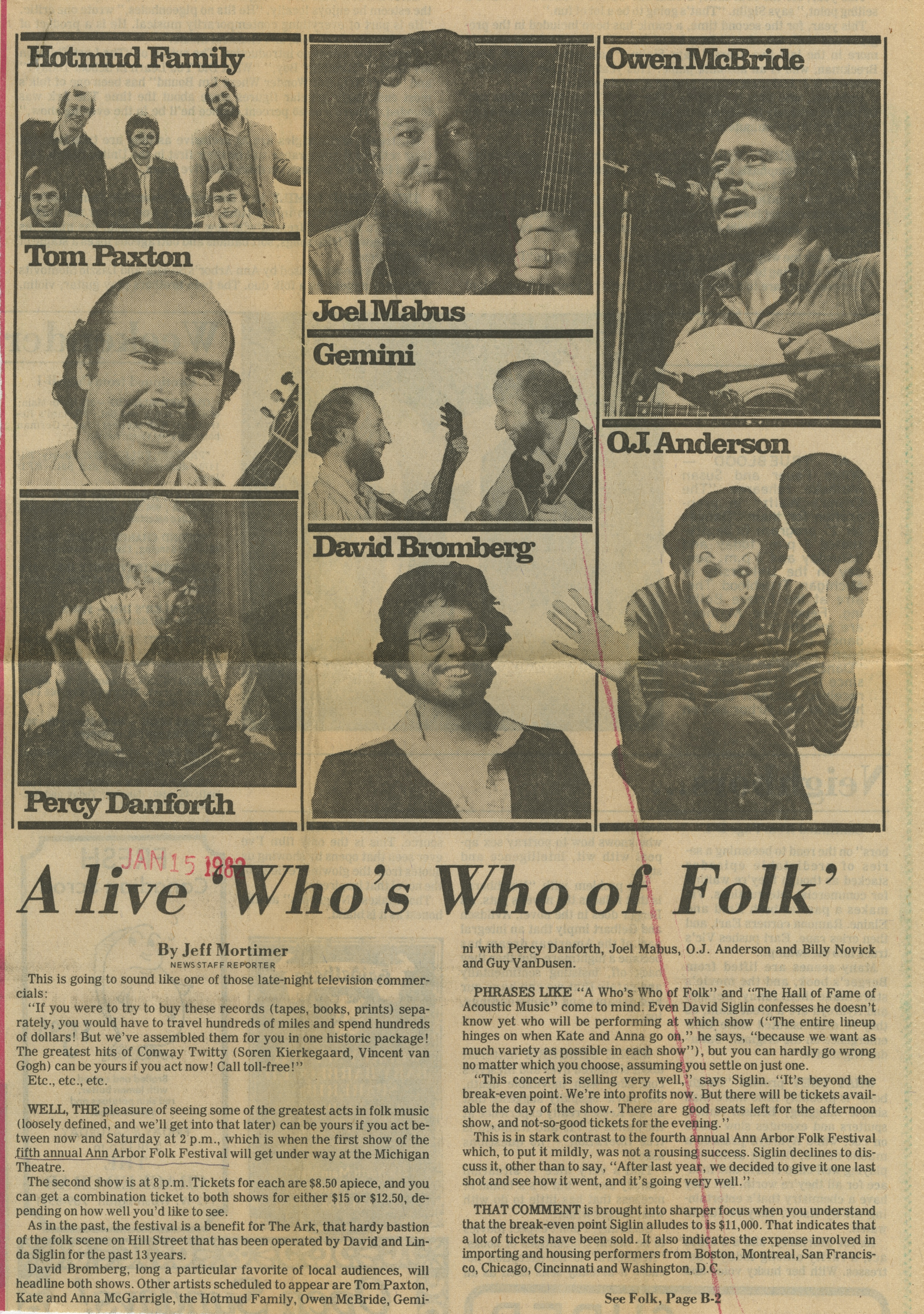 A live 'Who's Who of Folk' image