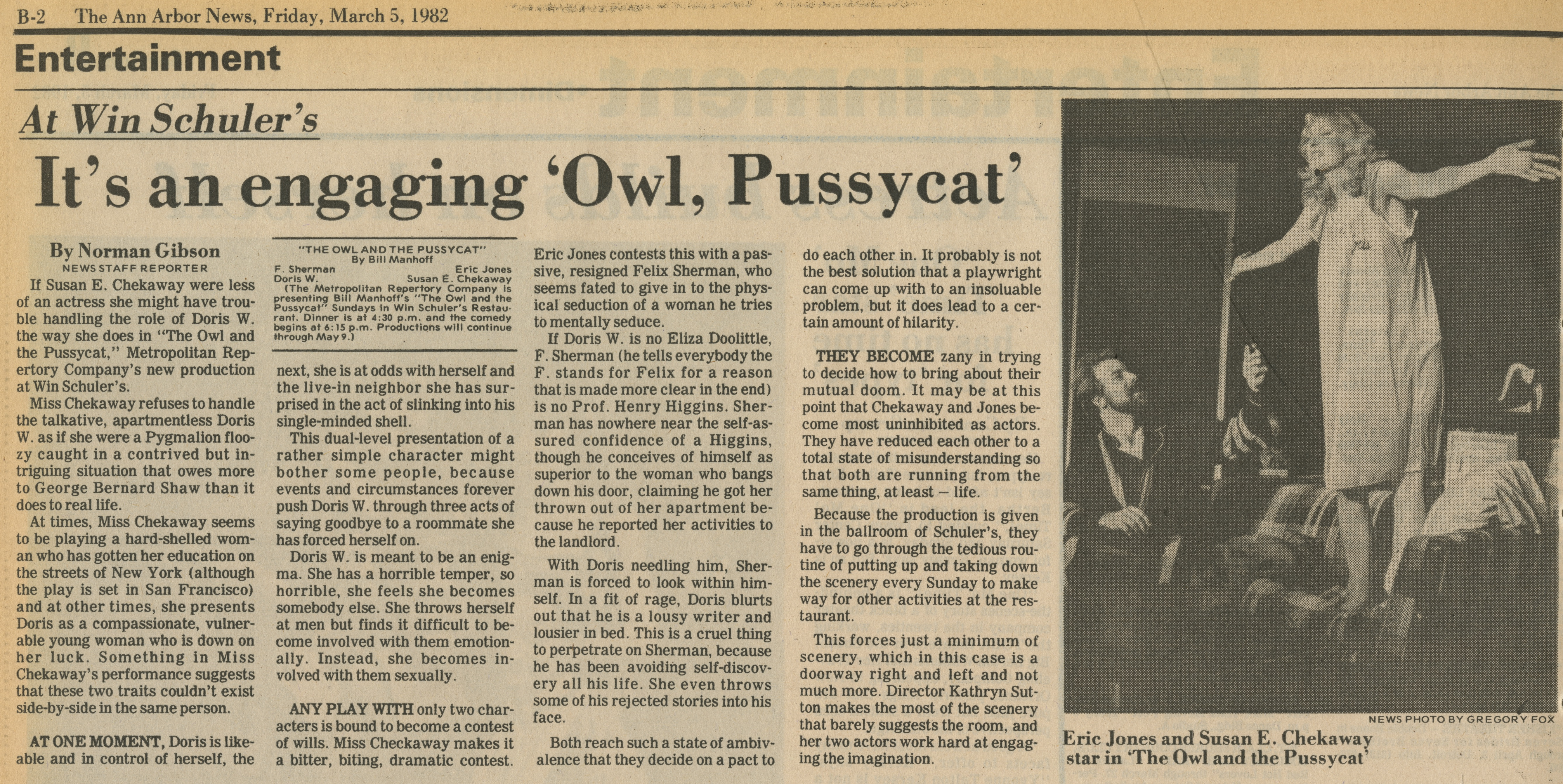 At Win Schuler's It's an engaging 'Owl, Pussycat' image