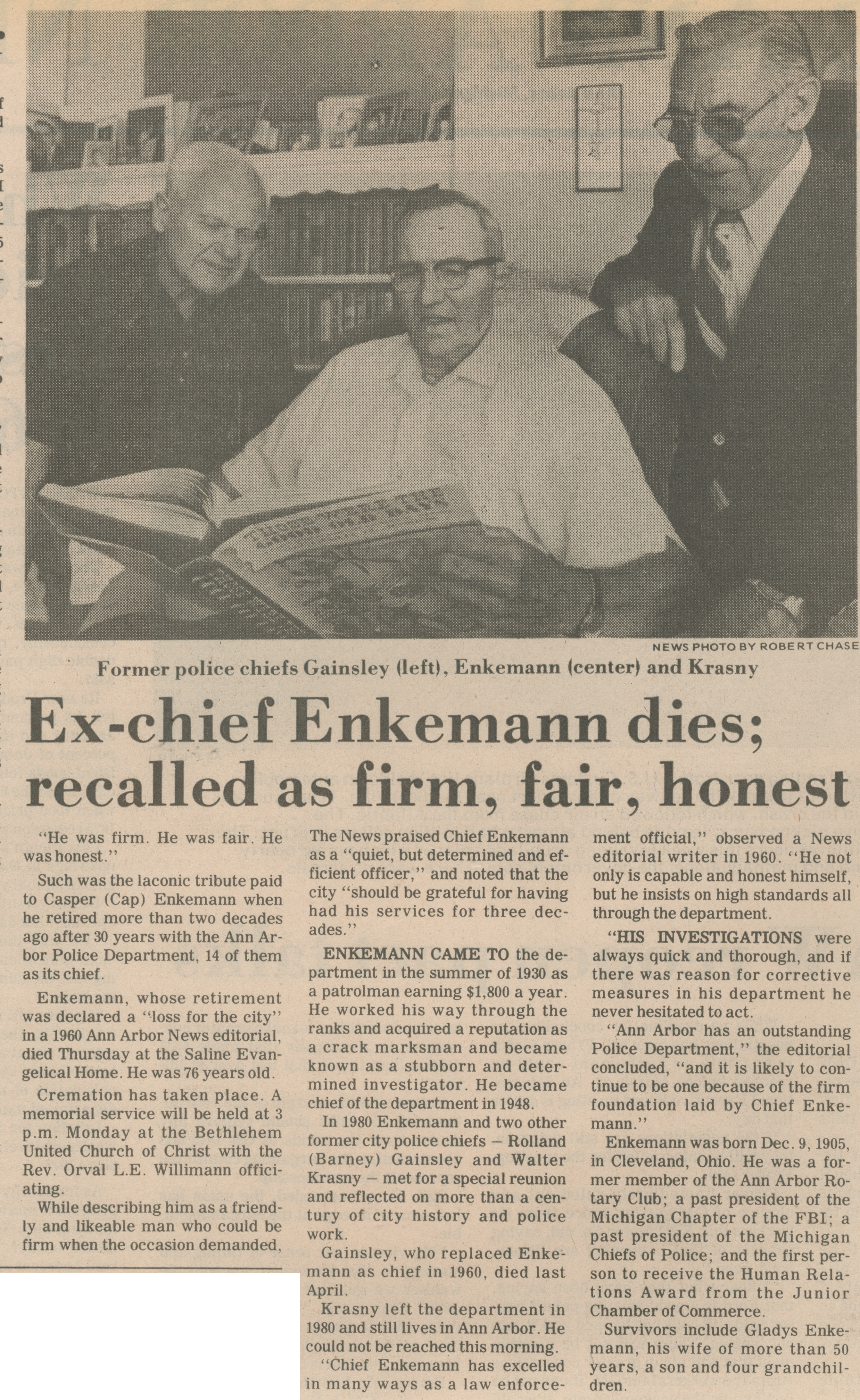 Ex-Chief Enkemann Dies; Recalled As Firm, Fair, Honest image