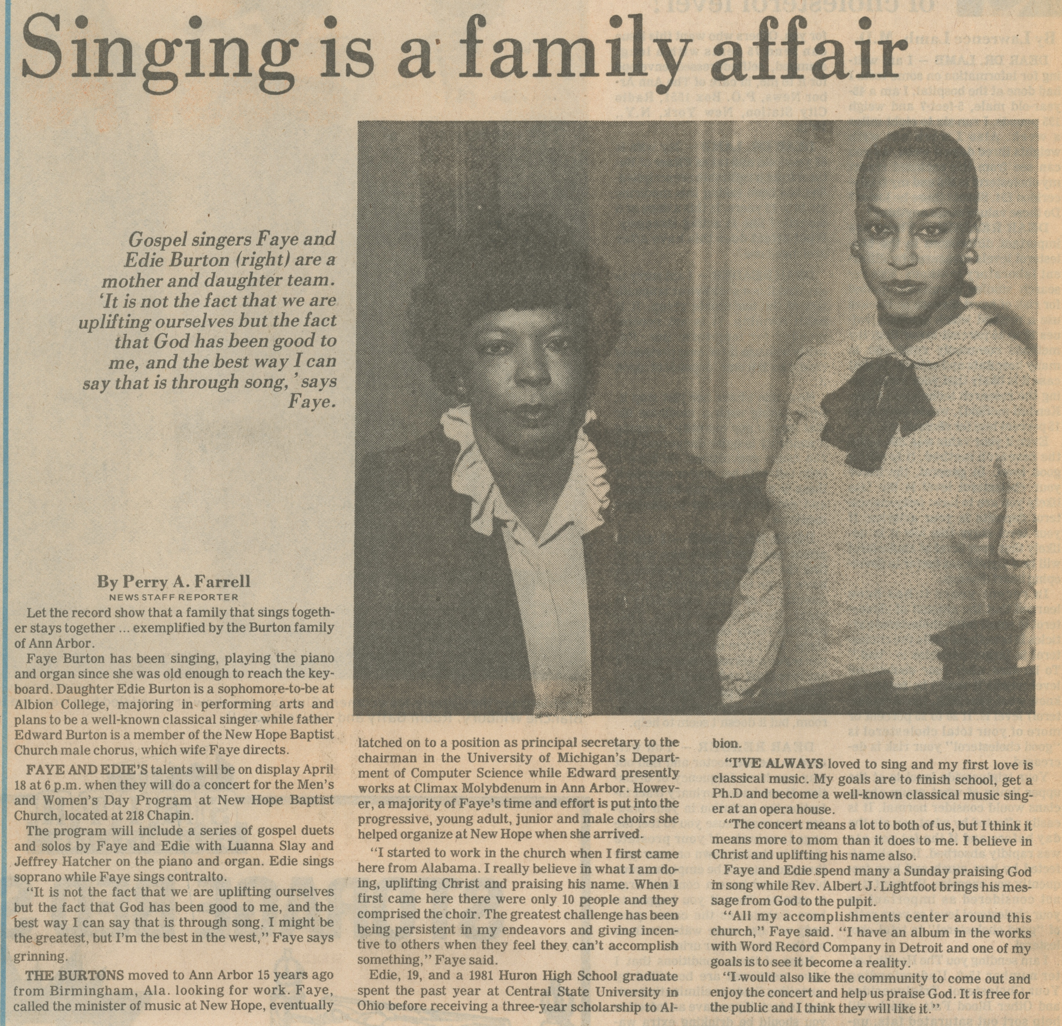 Singing Is A Family Affair image